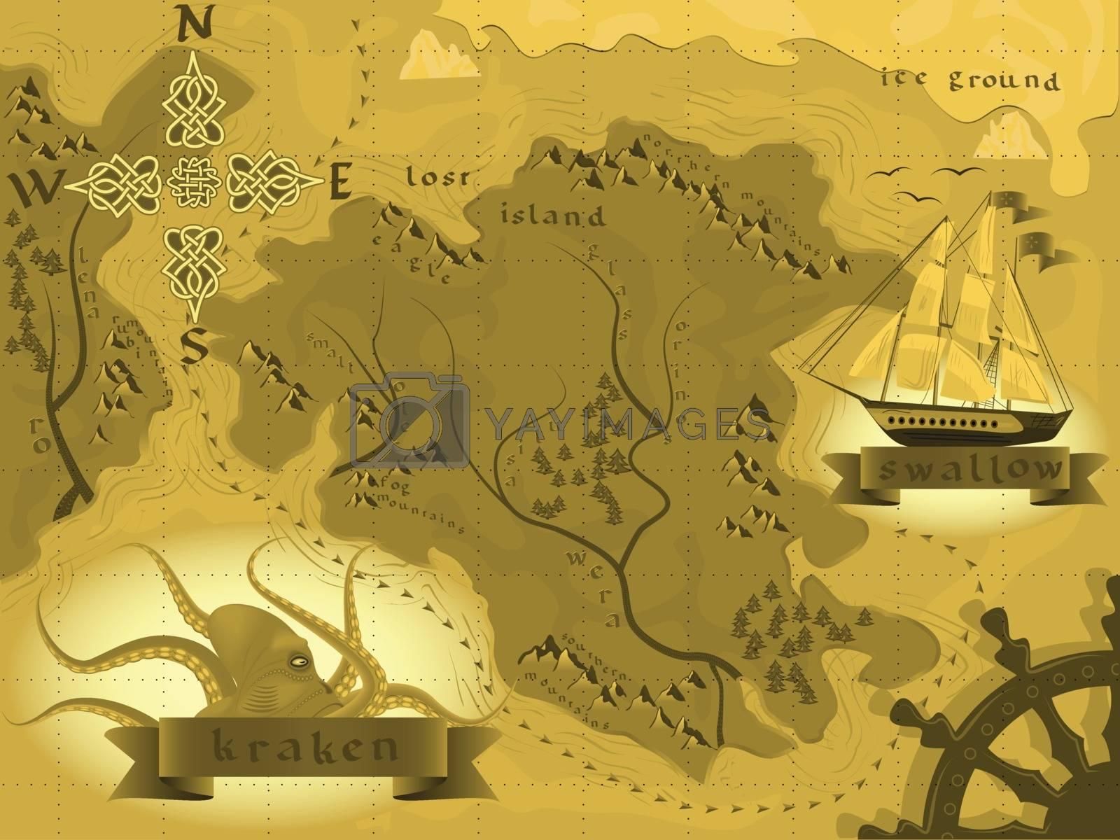 fantasy map treasures with a kraken in a vector