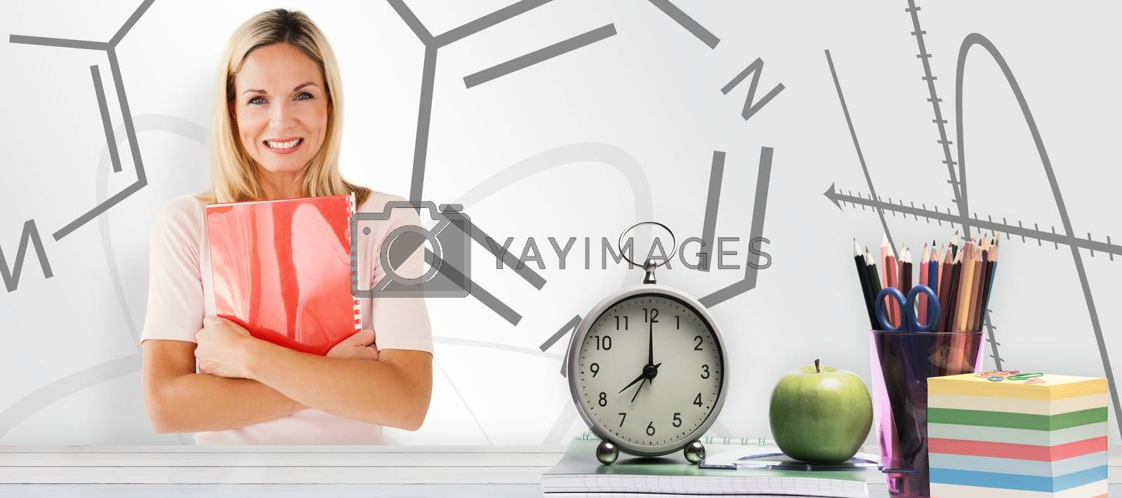Mature student smiling against white background with vignette