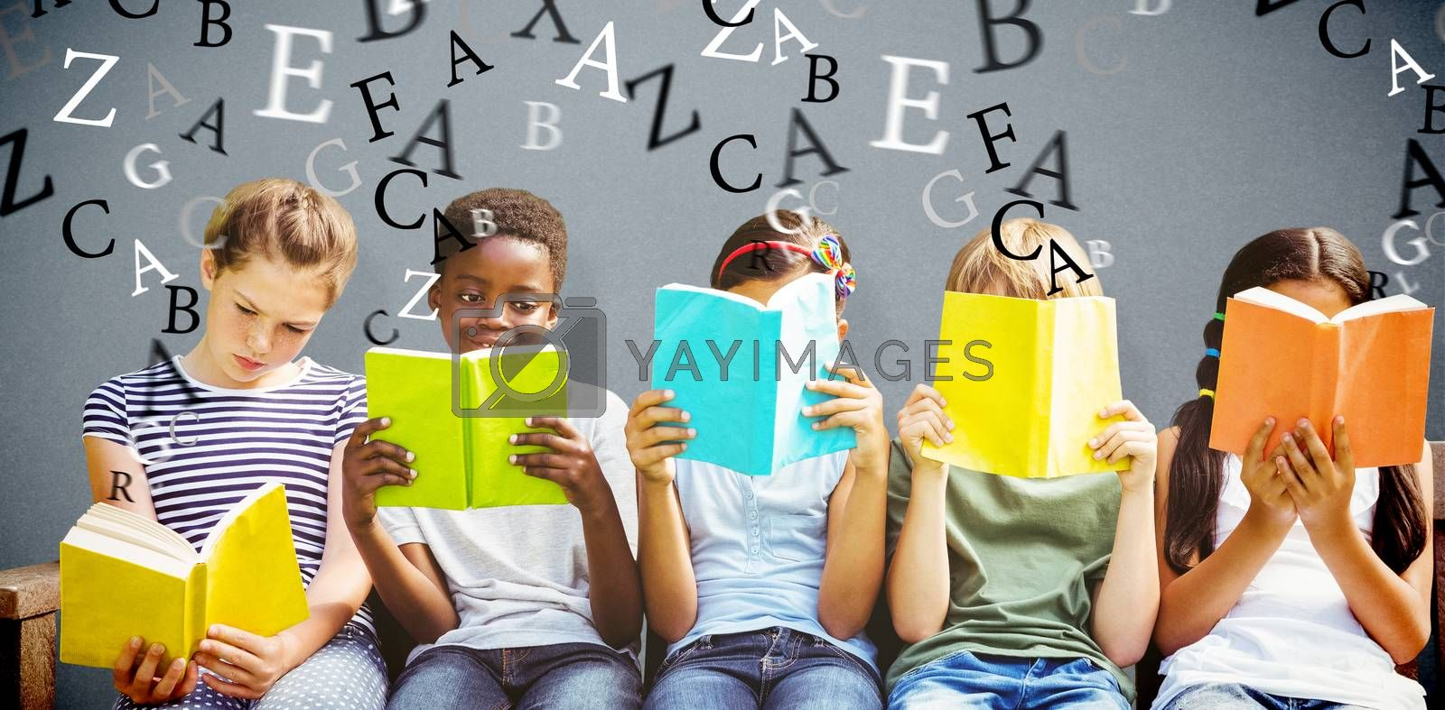 Children reading books at park against grey background