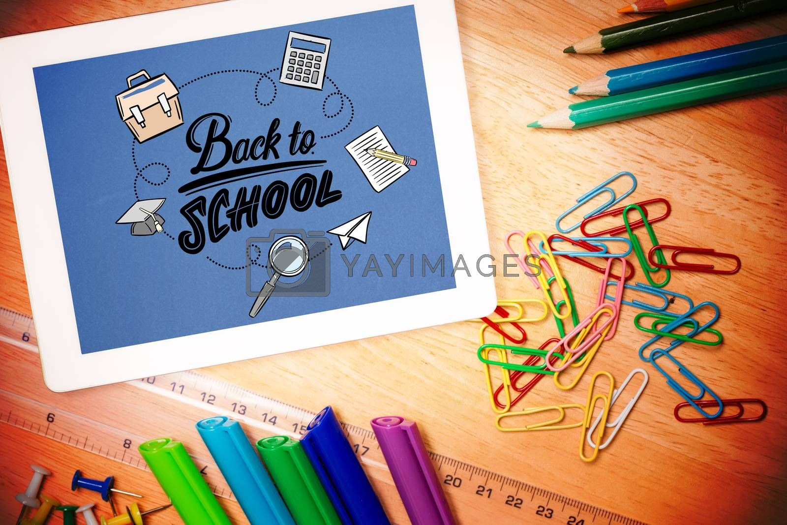 back to school against students desk with tablet pc