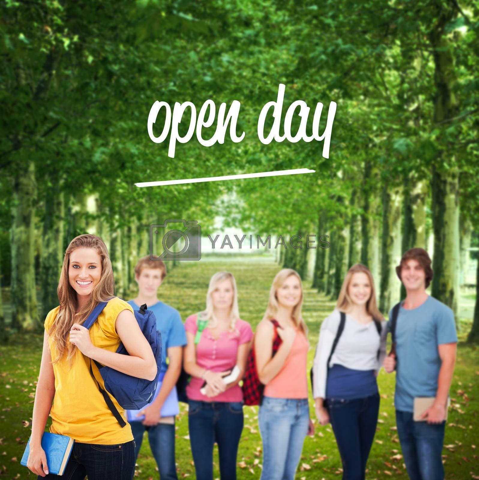 Open day against walkway along lined trees in the park by Wavebreakmedia