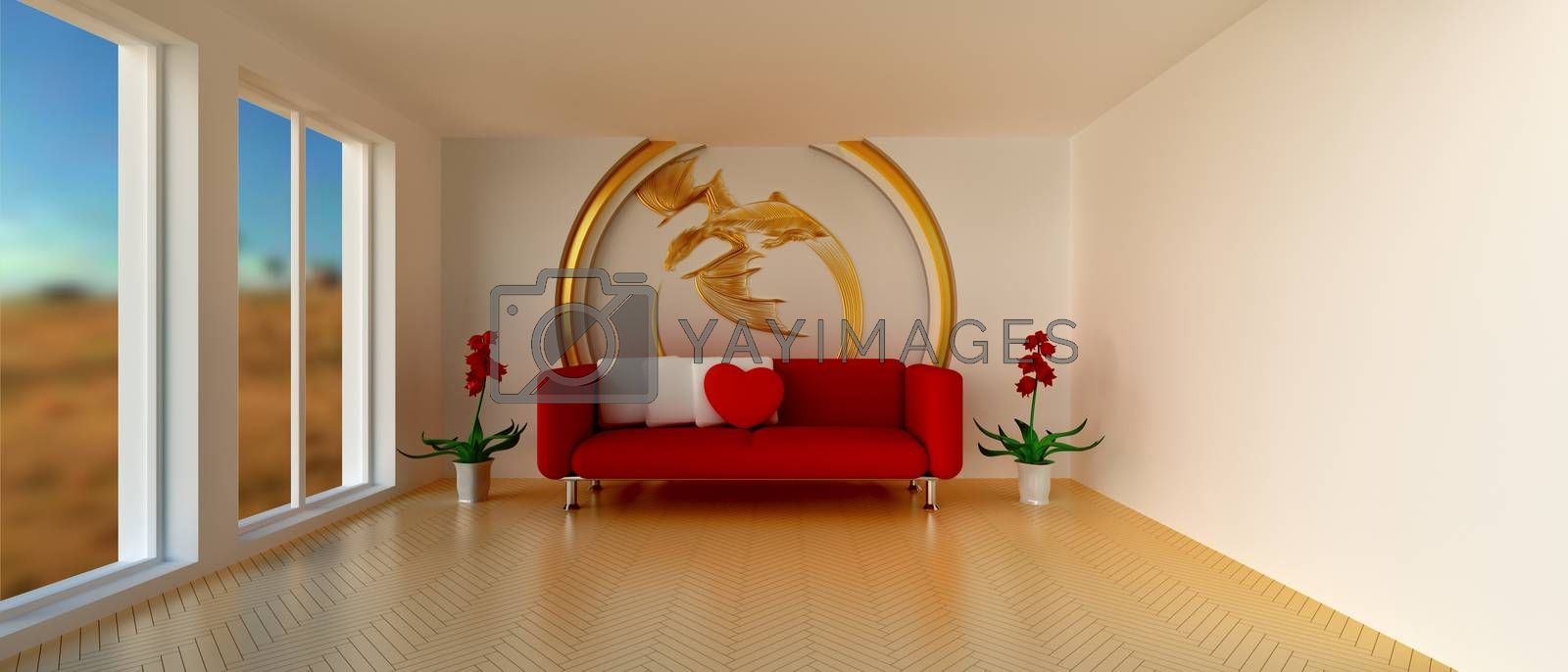 Empty sunny stylish minimalist modern living room with red sofa and white cushion, red heart-shaped pillow, red flowers and golden dragon decoration on the wall. 21:9 proportions. 3D rendering.