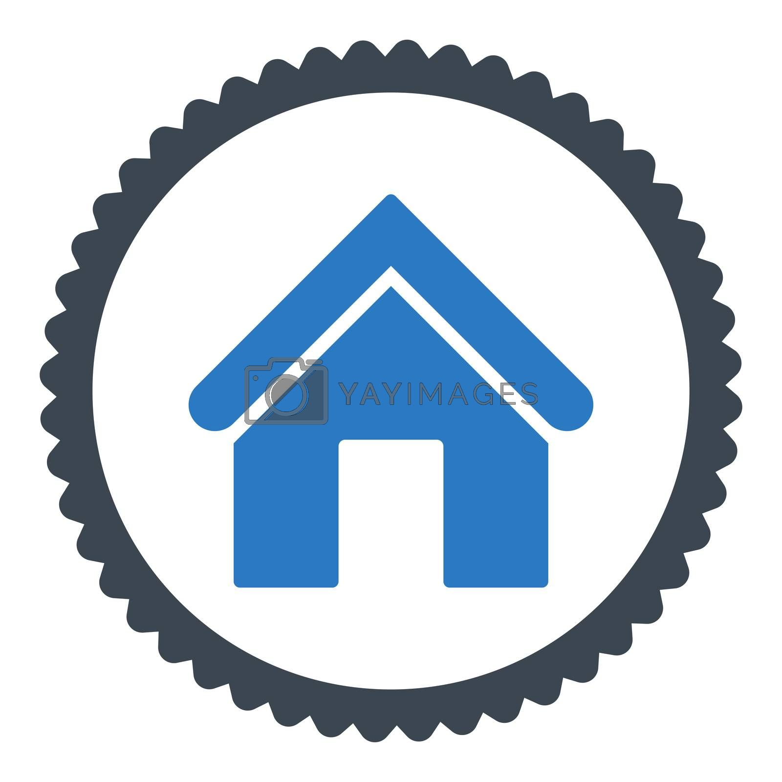 Home flat smooth blue colors round stamp icon by Aha-Soft