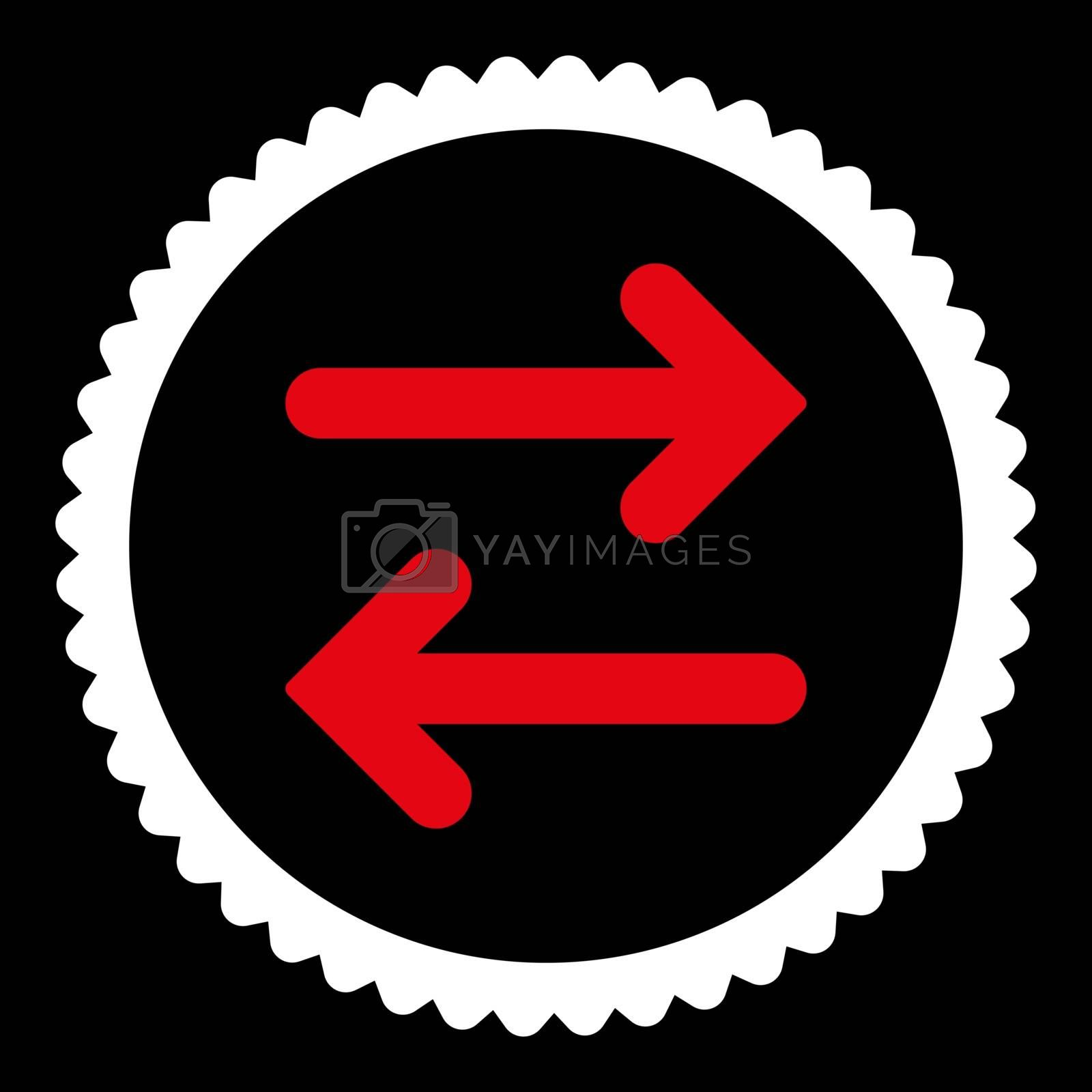Flip Horizontal flat red and white colors round stamp icon by Aha-Soft