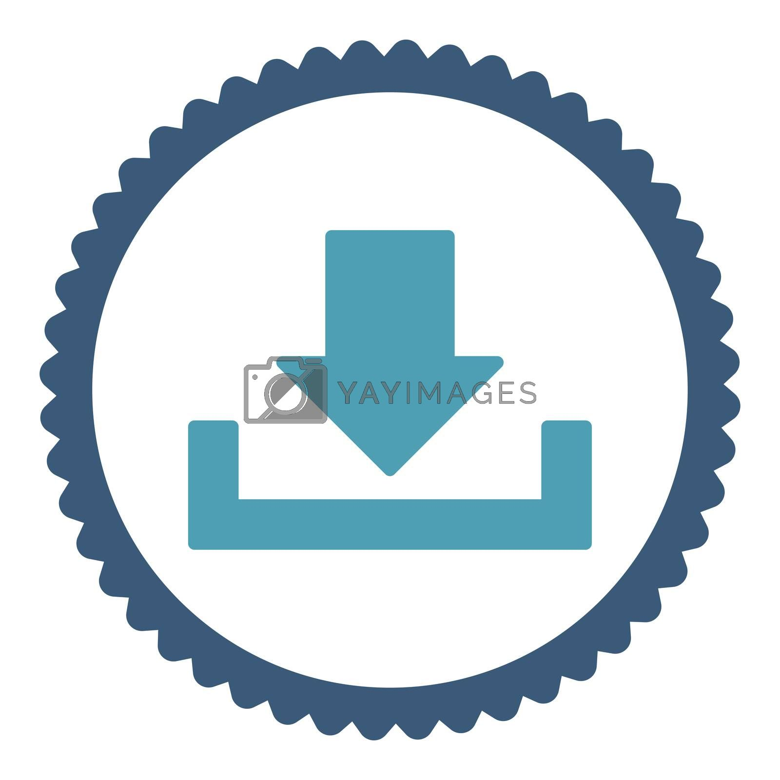 Download flat cyan and blue colors round stamp icon by Aha-Soft