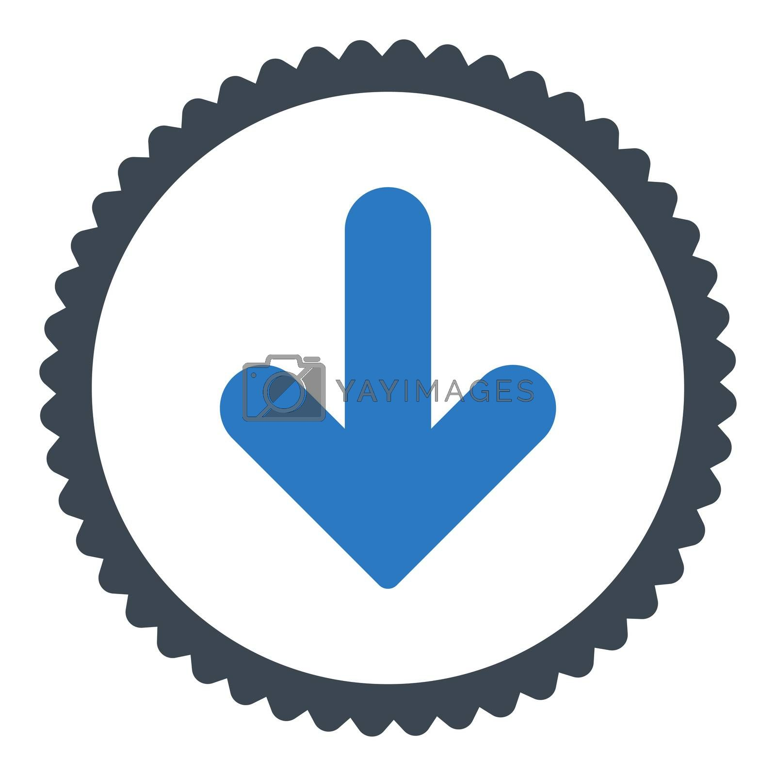 Arrow Down flat smooth blue colors round stamp icon by Aha-Soft