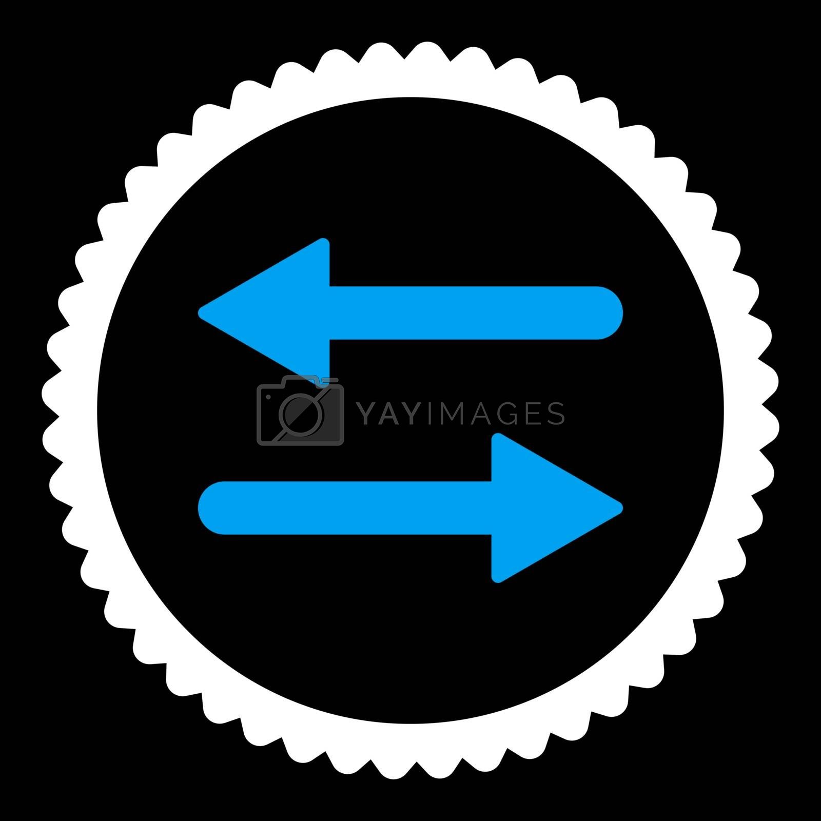 Arrows Exchange flat blue and white colors round stamp icon by Aha-Soft