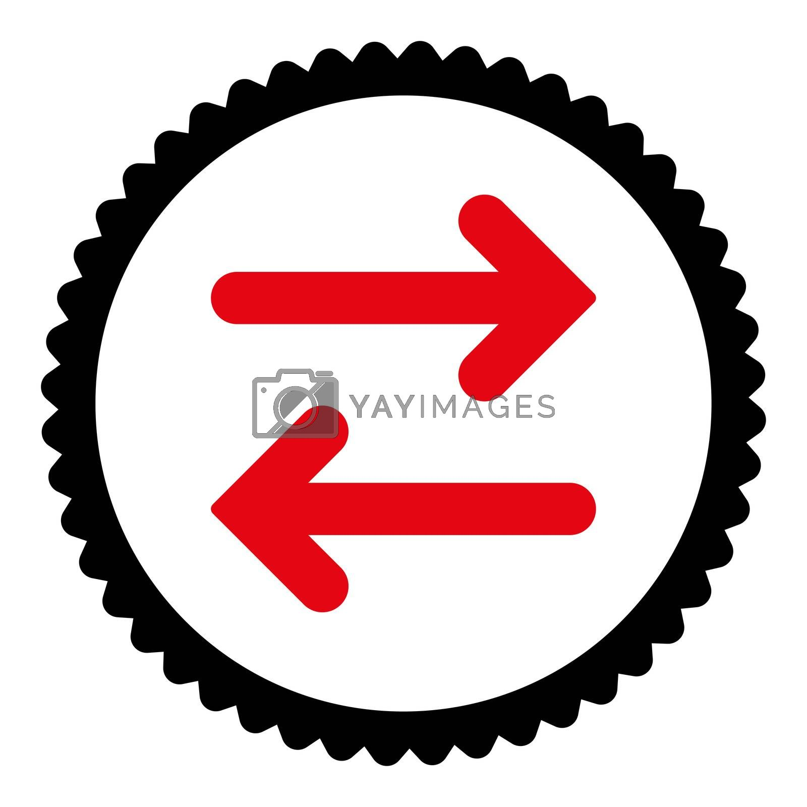 Flip Horizontal flat intensive red and black colors round stamp icon by Aha-Soft