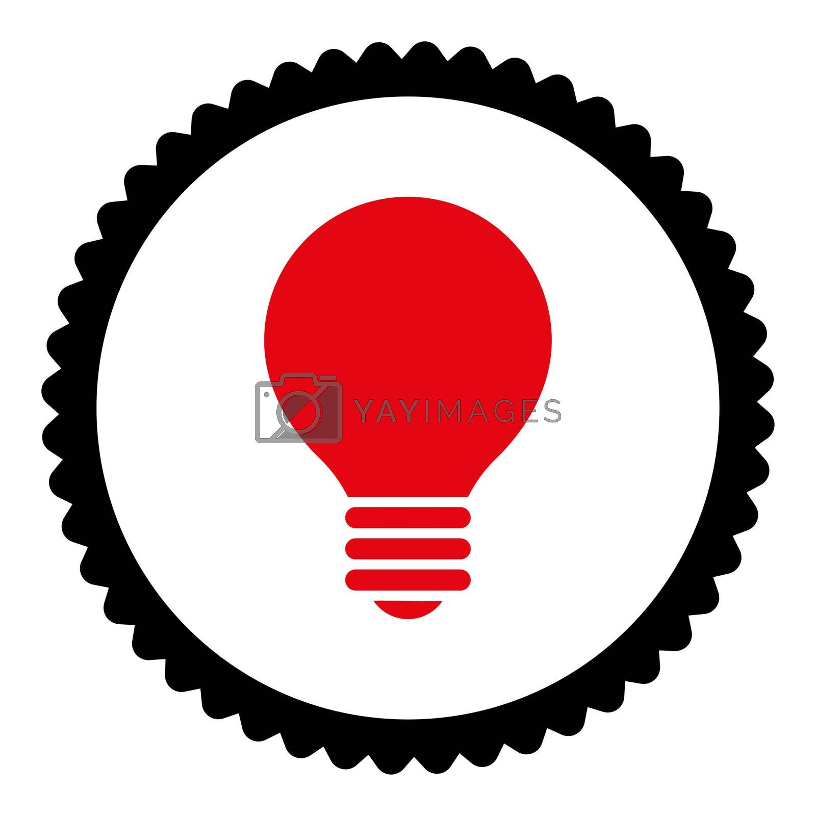 Electric Bulb flat intensive red and black colors round stamp icon by Aha-Soft