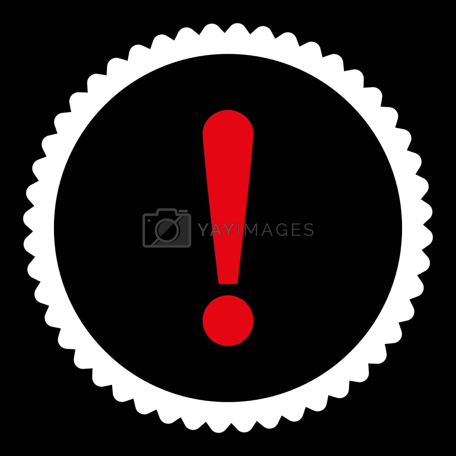 Exclamation Sign flat red and white colors round stamp icon by Aha-Soft