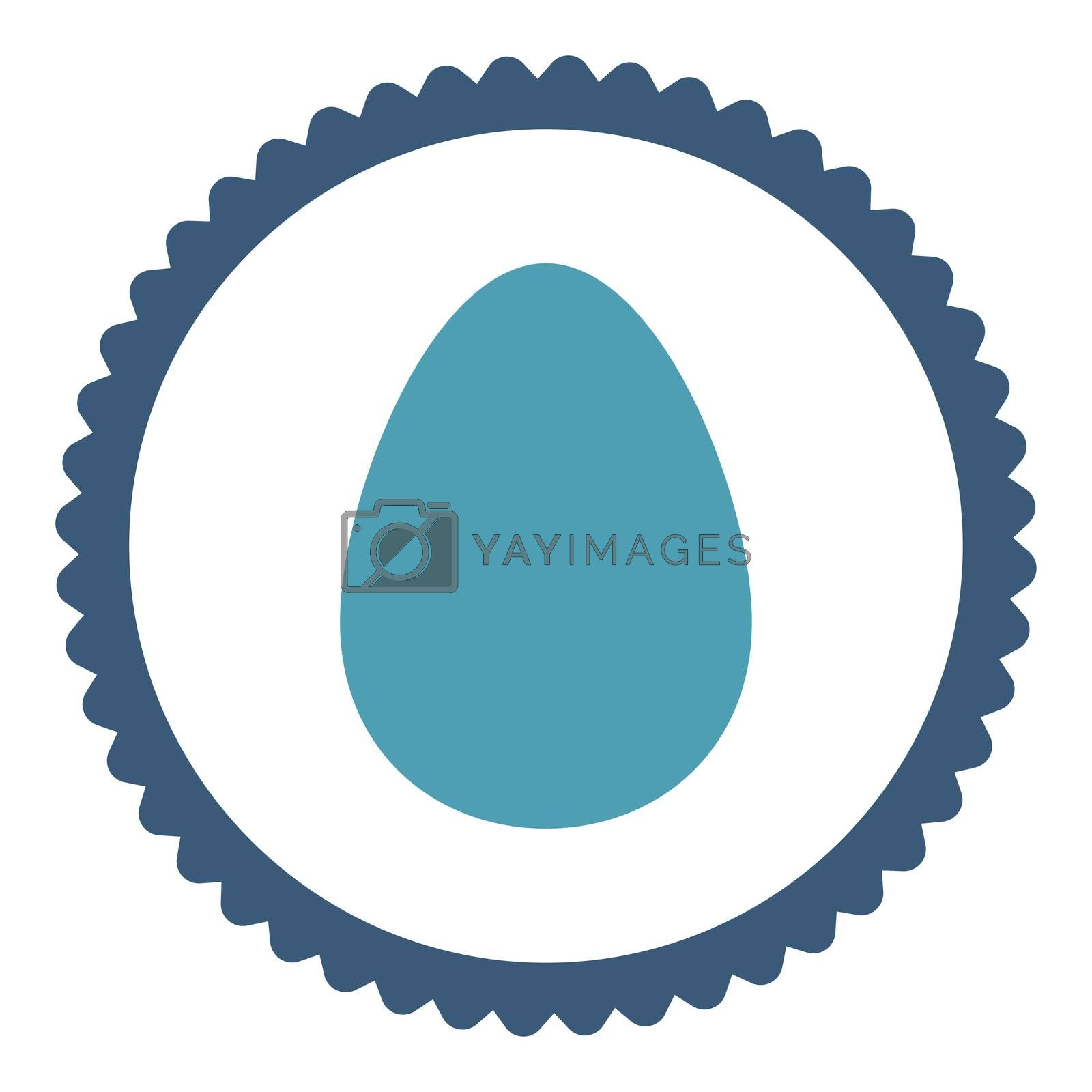 Egg flat cyan and blue colors round stamp icon by Aha-Soft