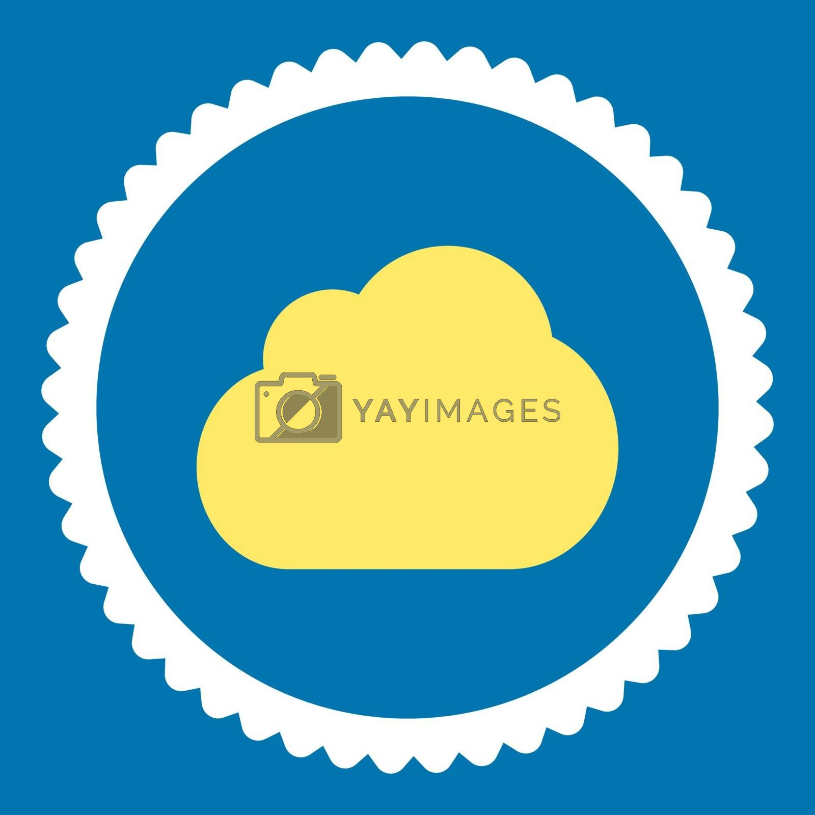 Cloud flat yellow and white colors round stamp icon by Aha-Soft