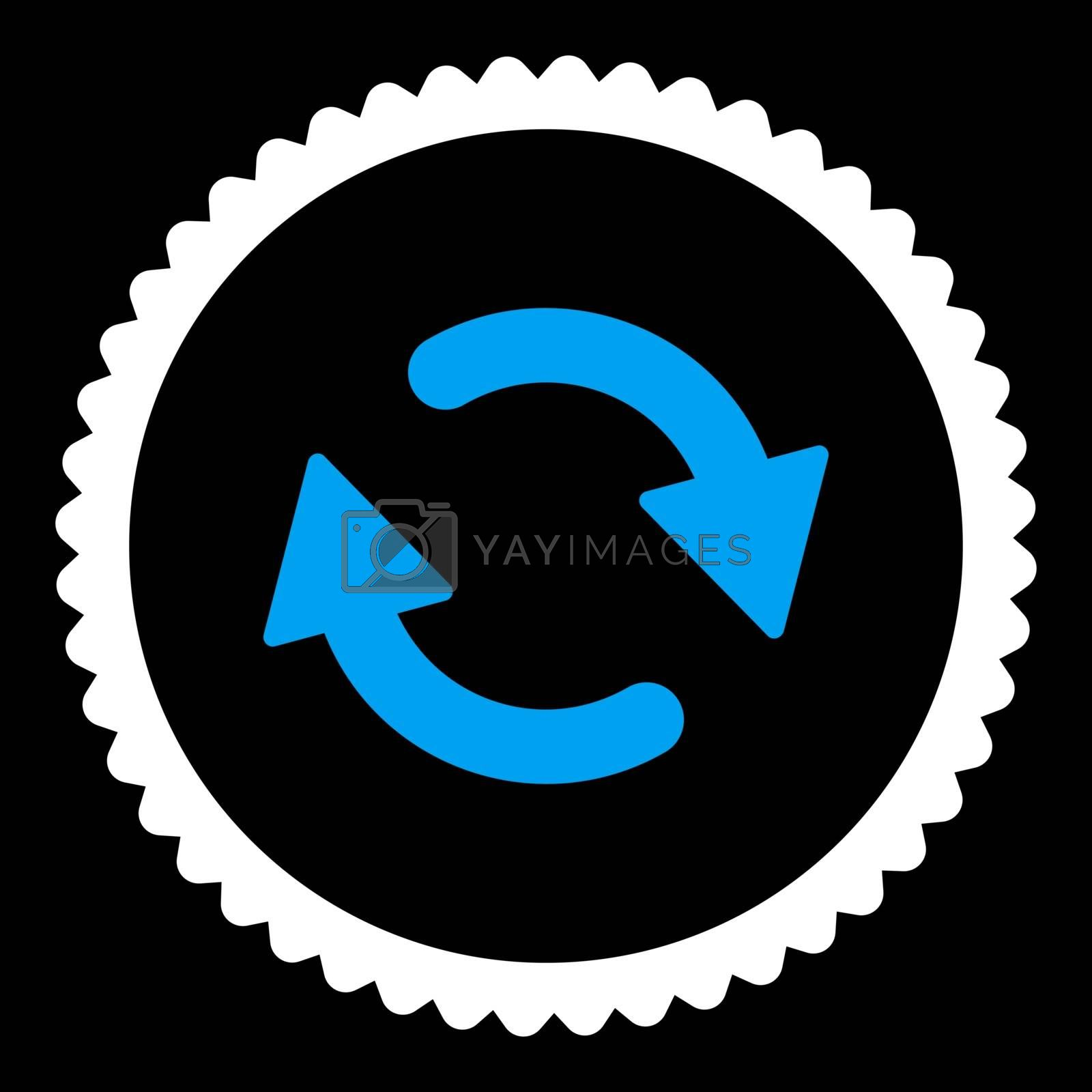 Refresh flat blue and white colors round stamp icon by Aha-Soft