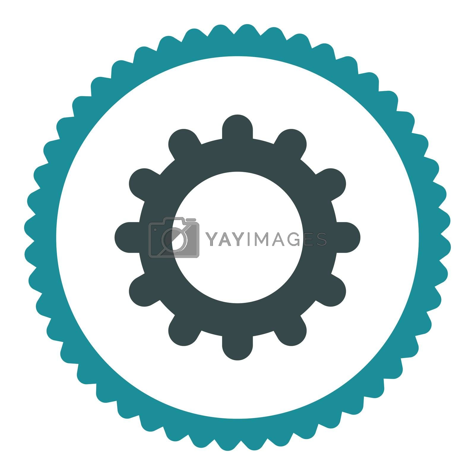 Gear flat soft blue colors round stamp icon by Aha-Soft