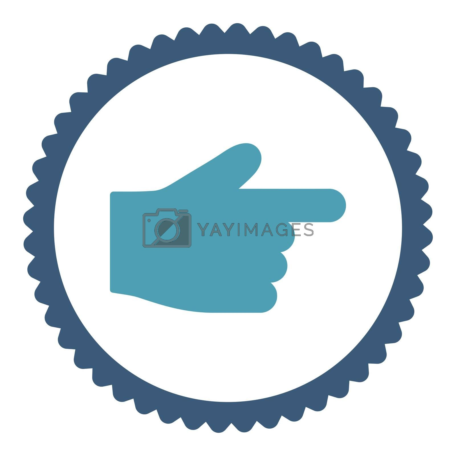 Index Finger flat cyan and blue colors round stamp icon by Aha-Soft