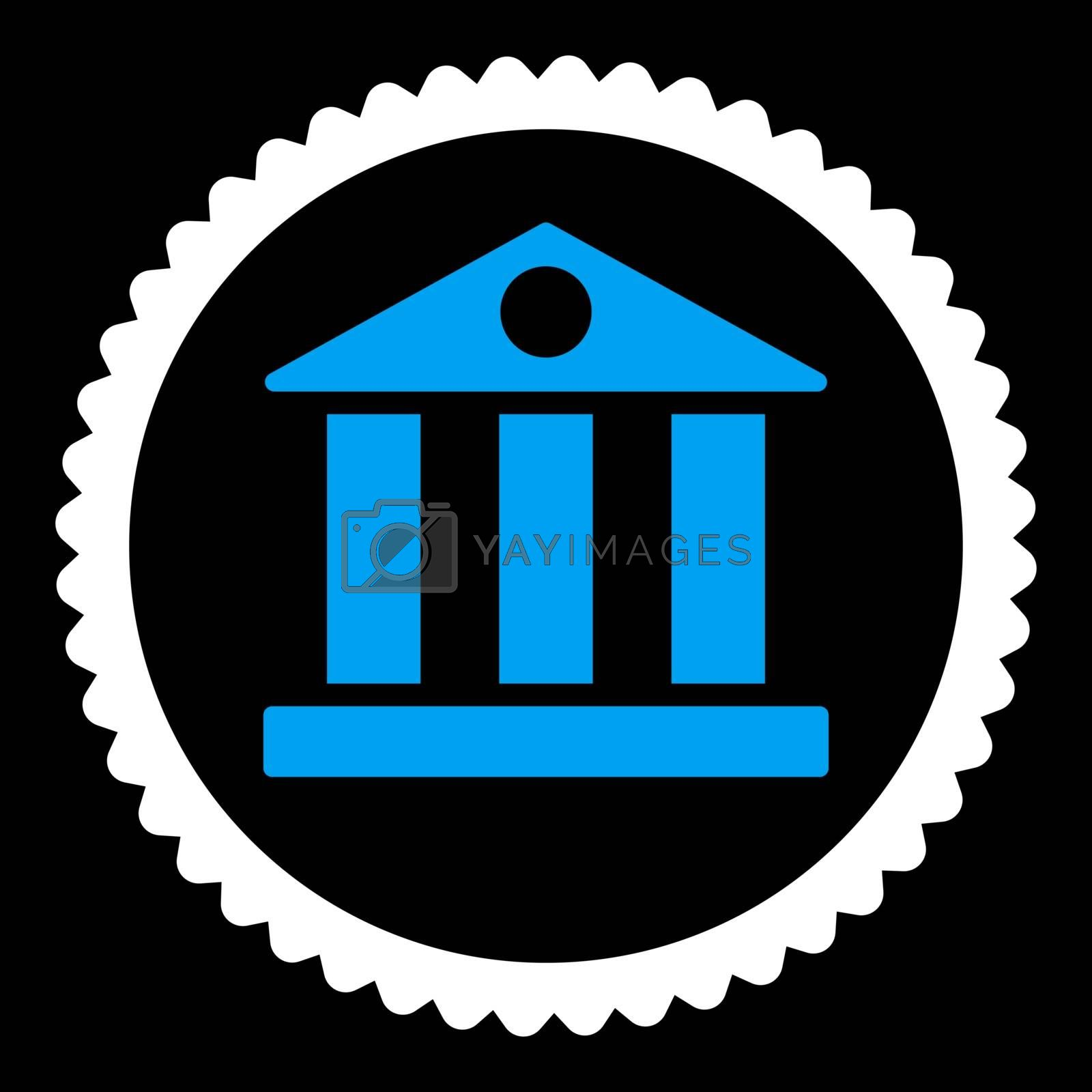 Bank flat blue and white colors round stamp icon by Aha-Soft