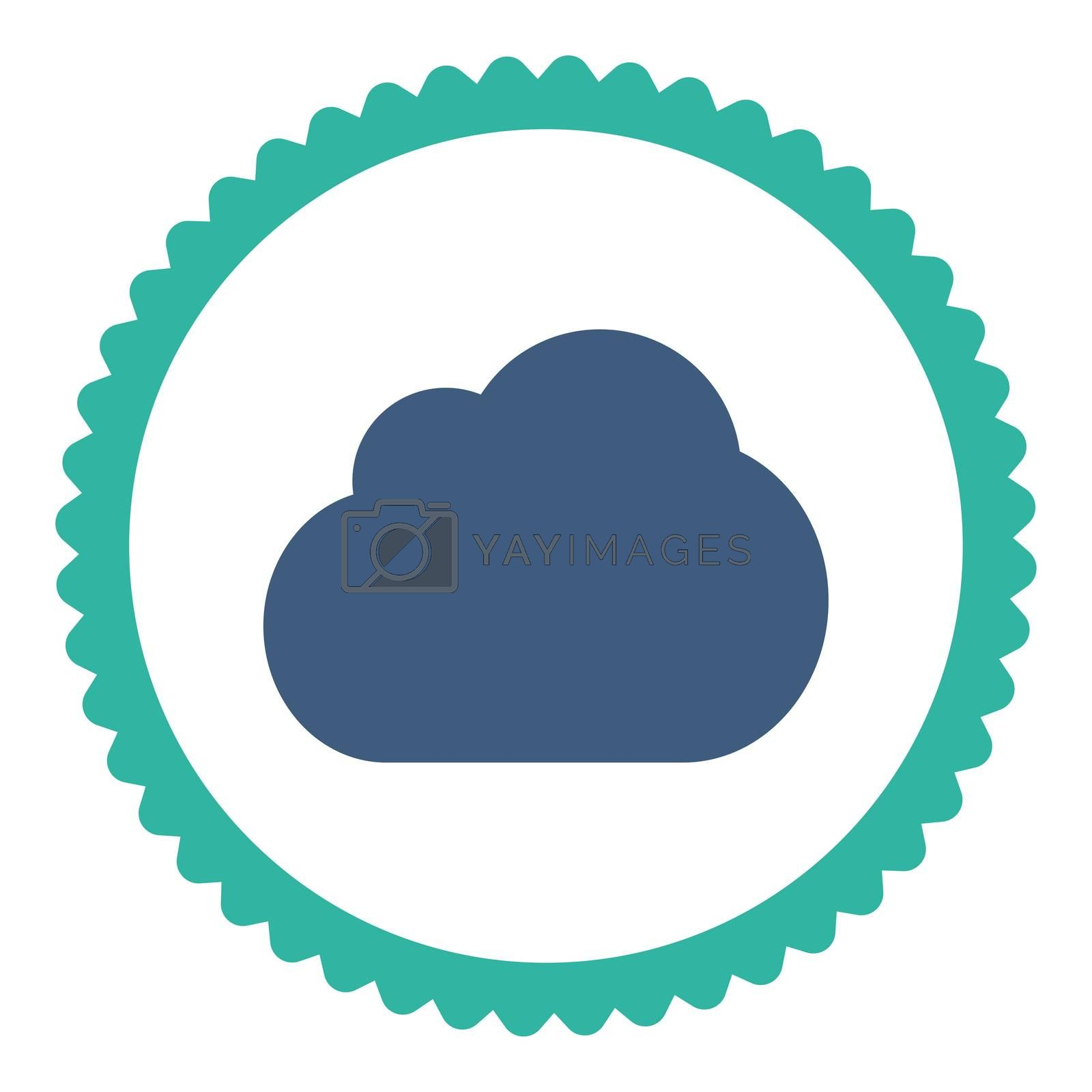 Cloud flat cobalt and cyan colors round stamp icon by Aha-Soft