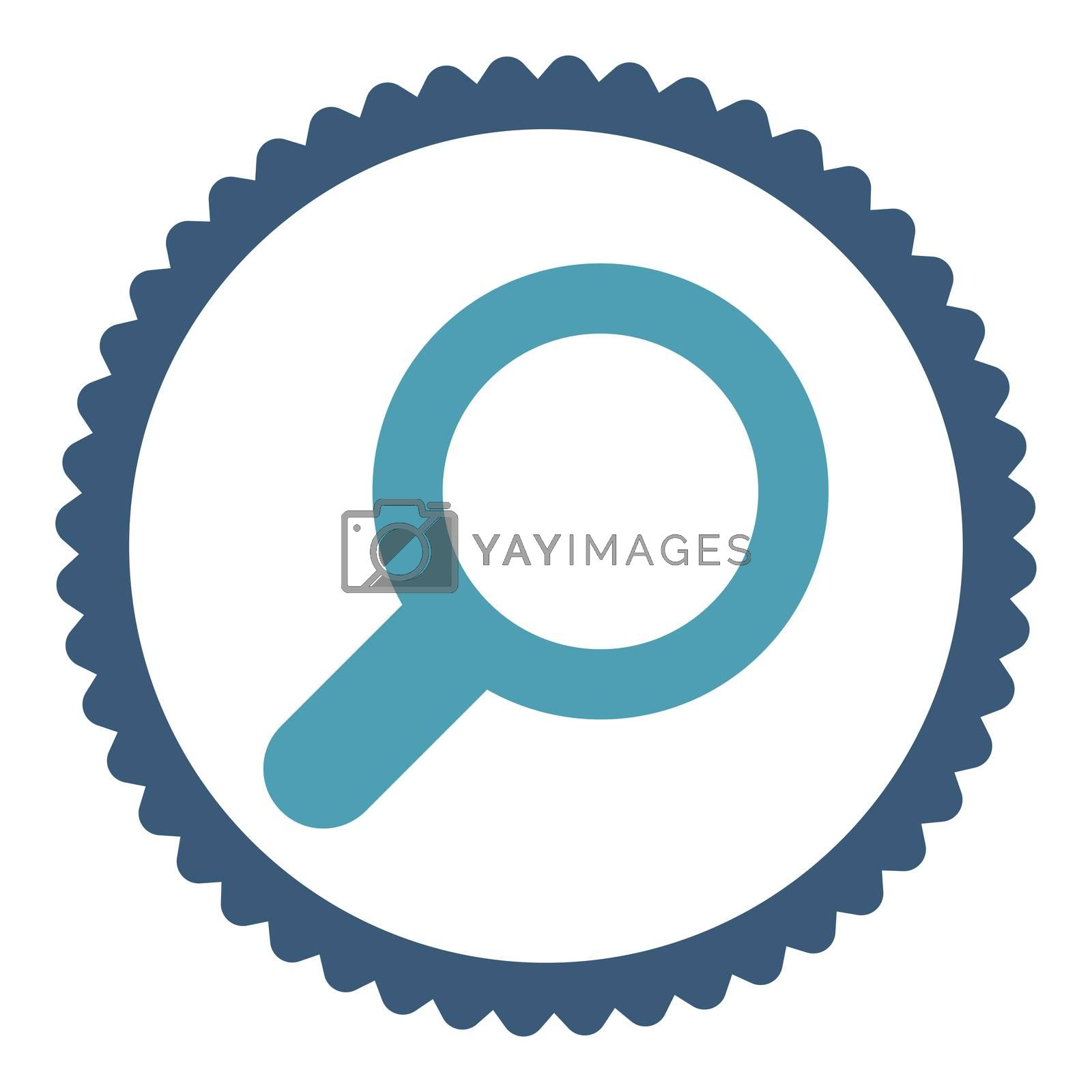 View flat cyan and blue colors round stamp icon by Aha-Soft