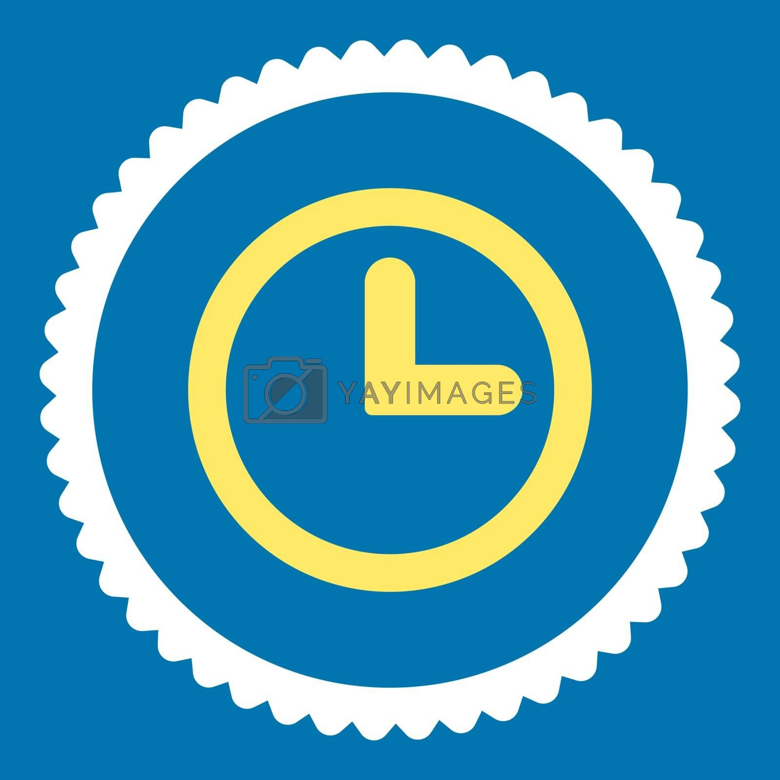 Clock flat yellow and white colors round stamp icon by Aha-Soft