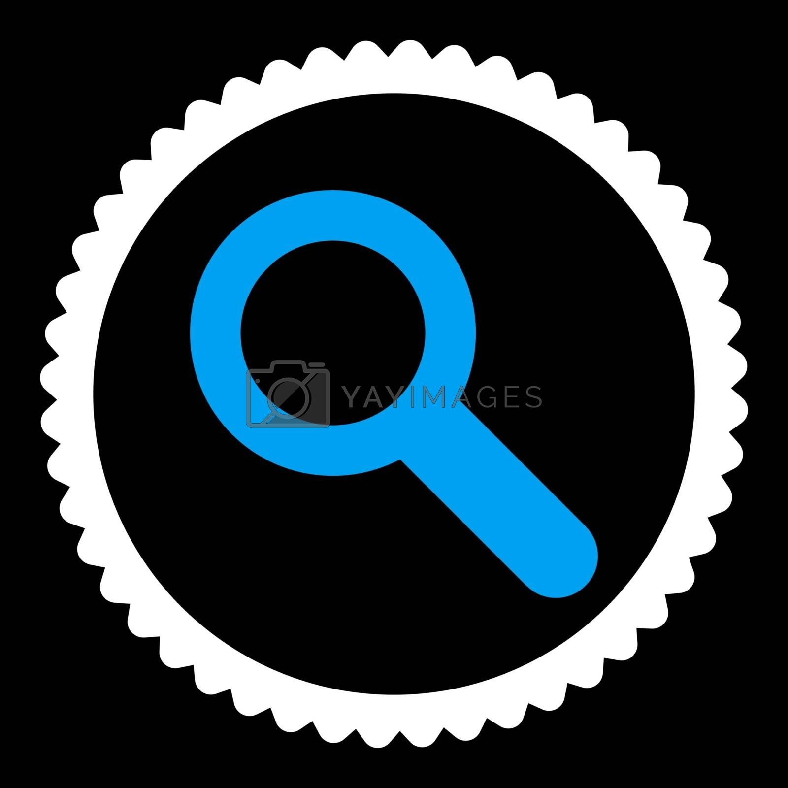 Search flat blue and white colors round stamp icon by Aha-Soft