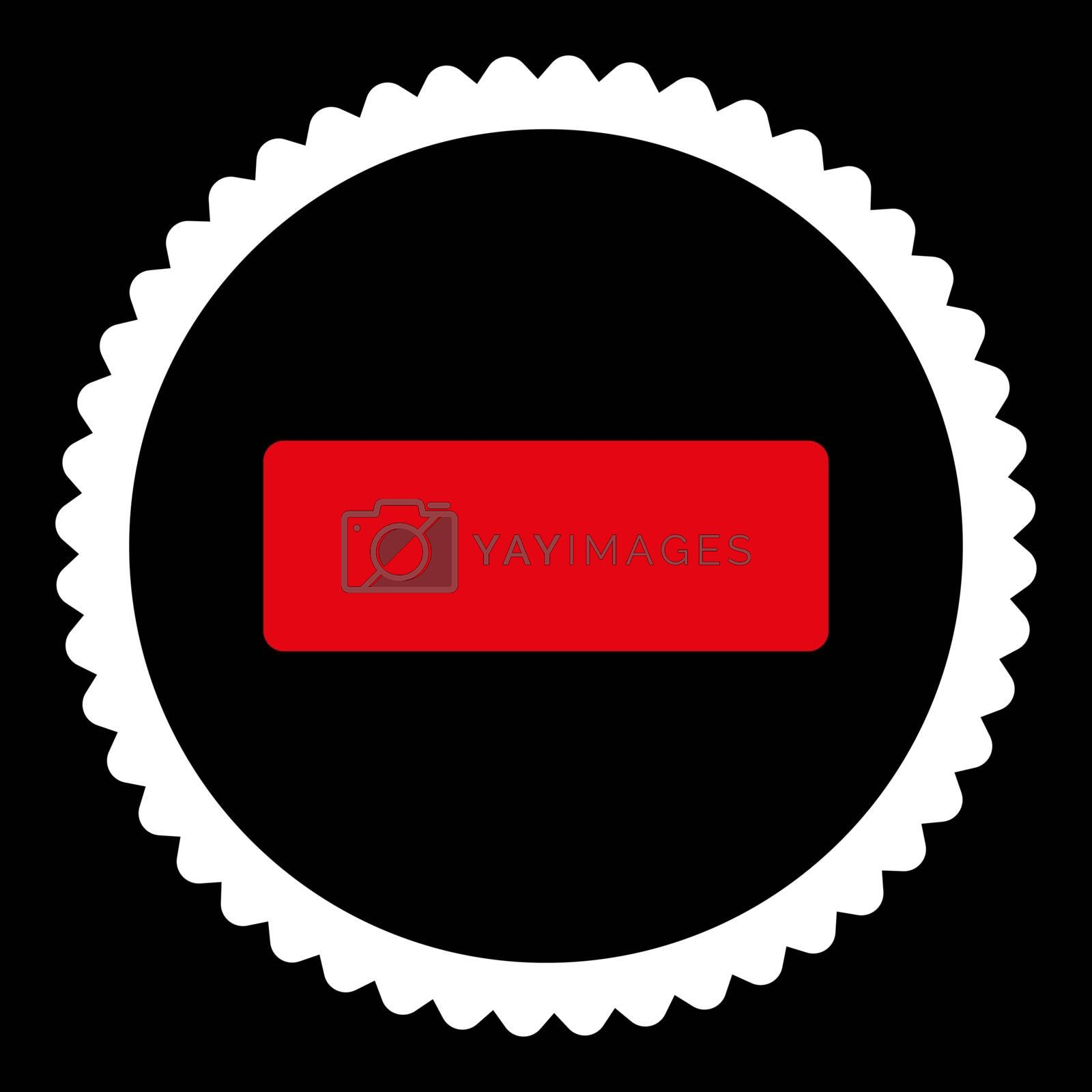 Minus flat red and white colors round stamp icon by Aha-Soft