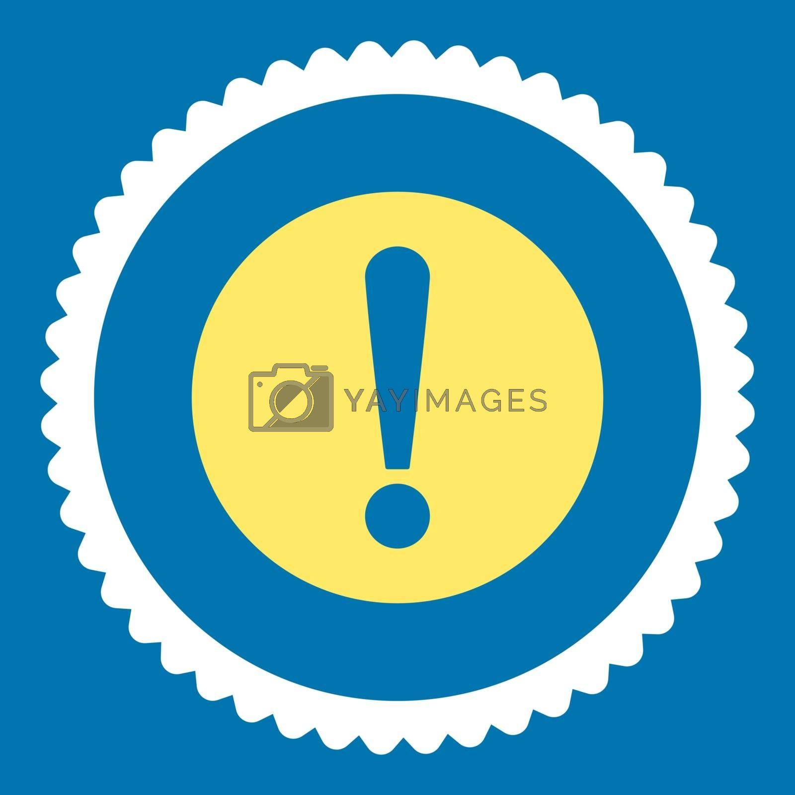Problem flat yellow and white colors round stamp icon by Aha-Soft