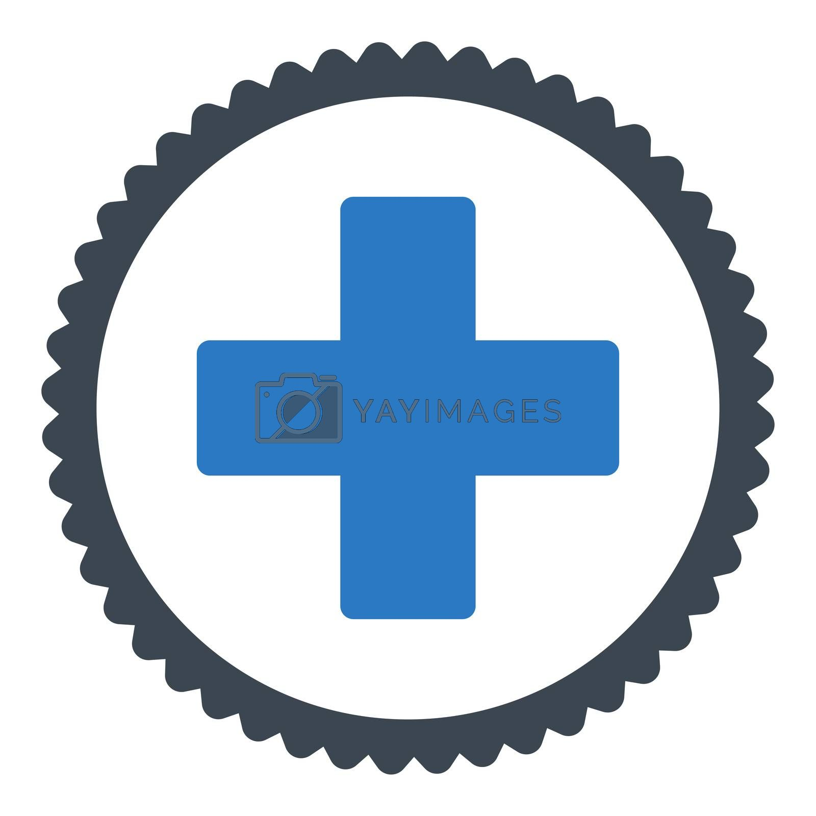 Plus flat smooth blue colors round stamp icon by Aha-Soft