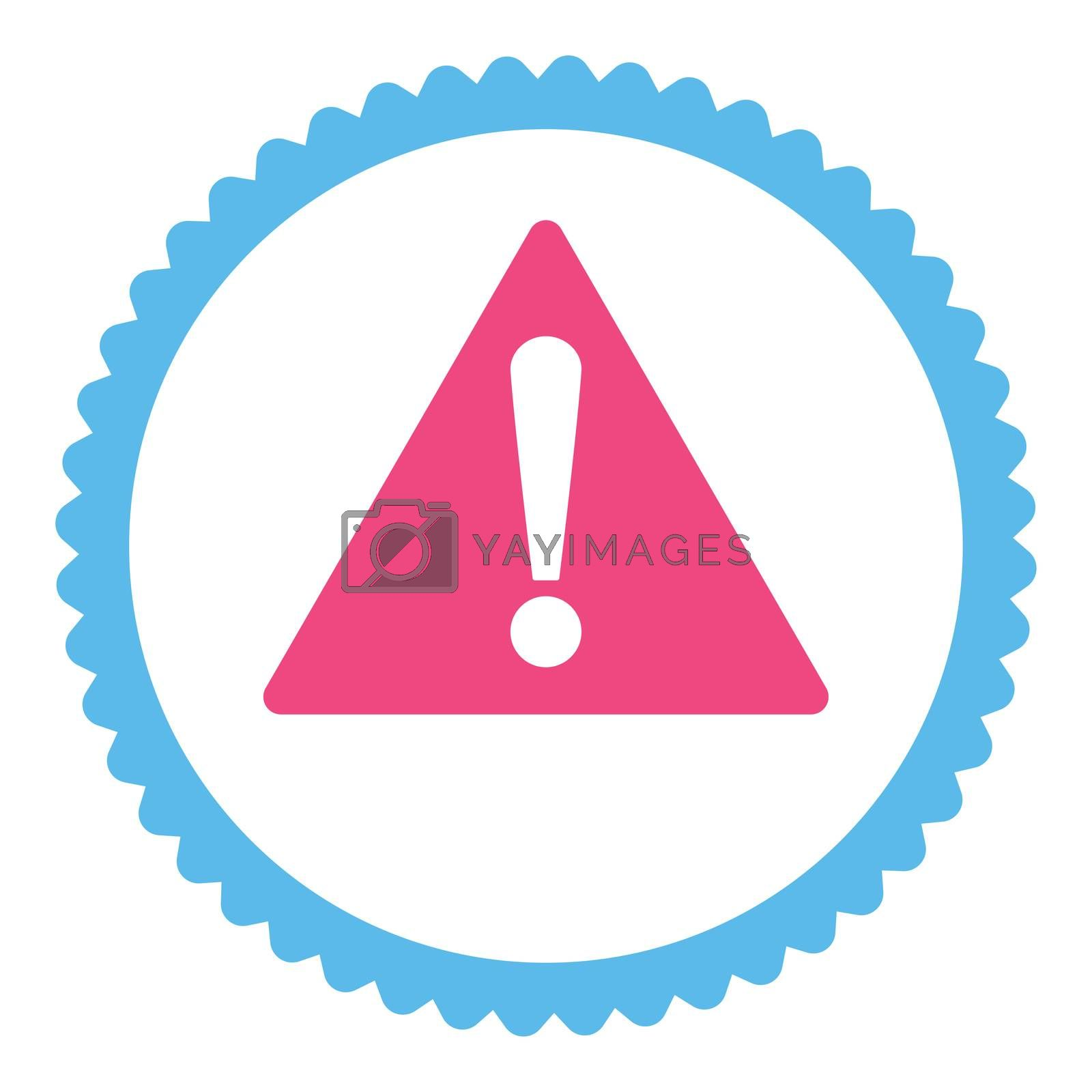 Warning flat pink and blue colors round stamp icon by Aha-Soft