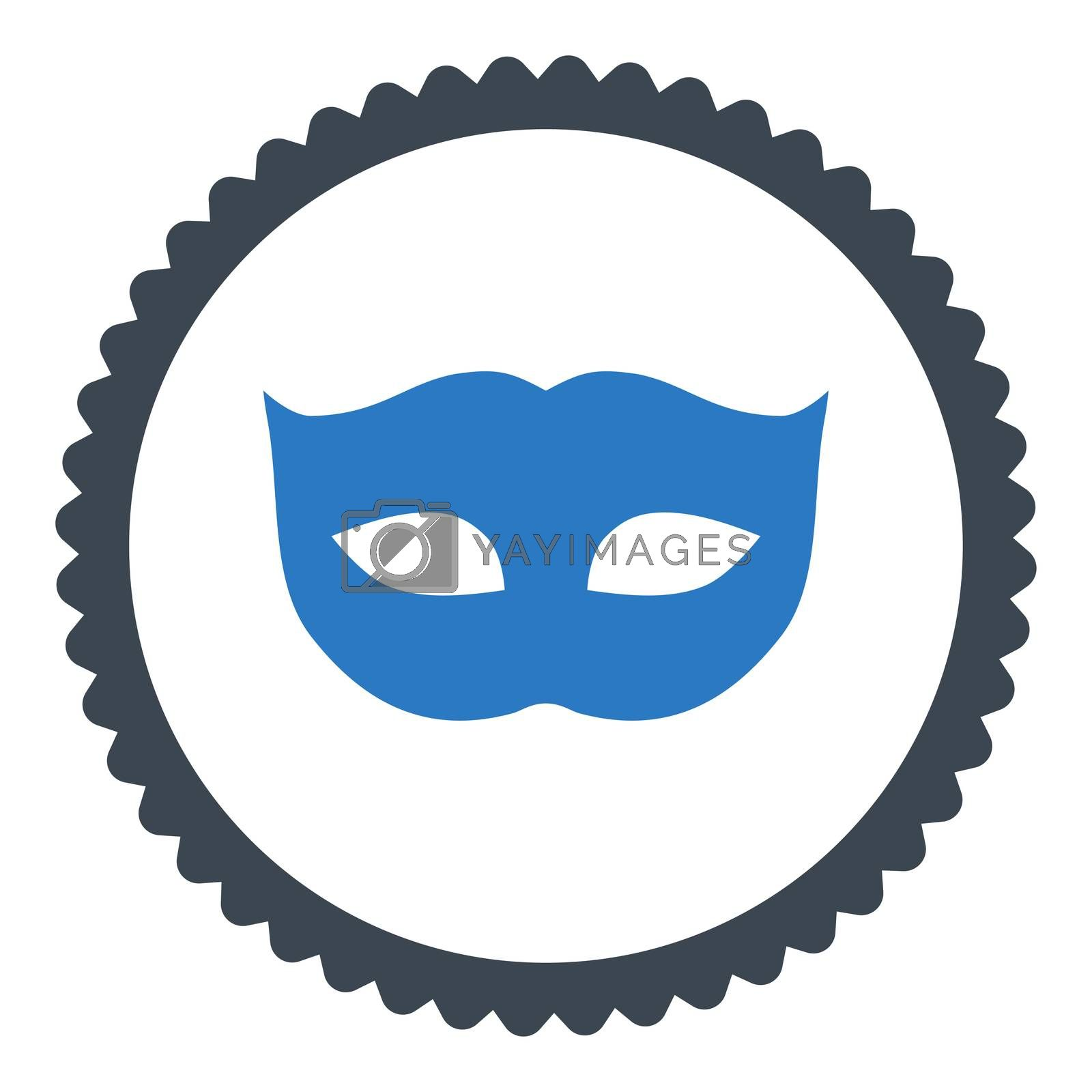 Privacy Mask flat smooth blue colors round stamp icon by Aha-Soft