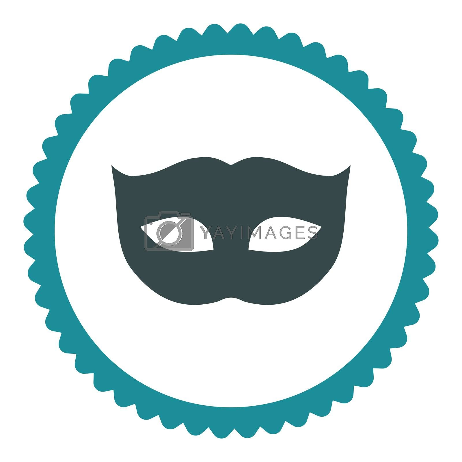 Privacy Mask flat soft blue colors round stamp icon by Aha-Soft