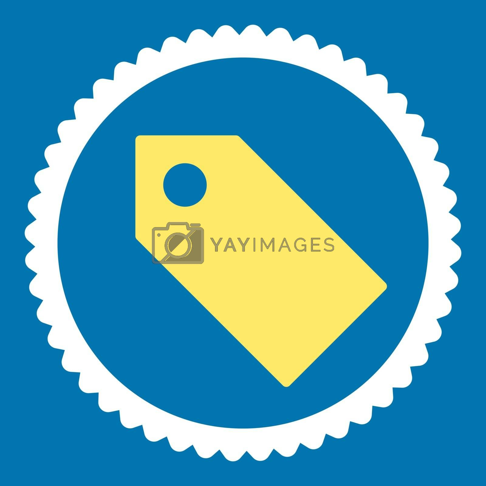 Tag flat yellow and white colors round stamp icon by Aha-Soft