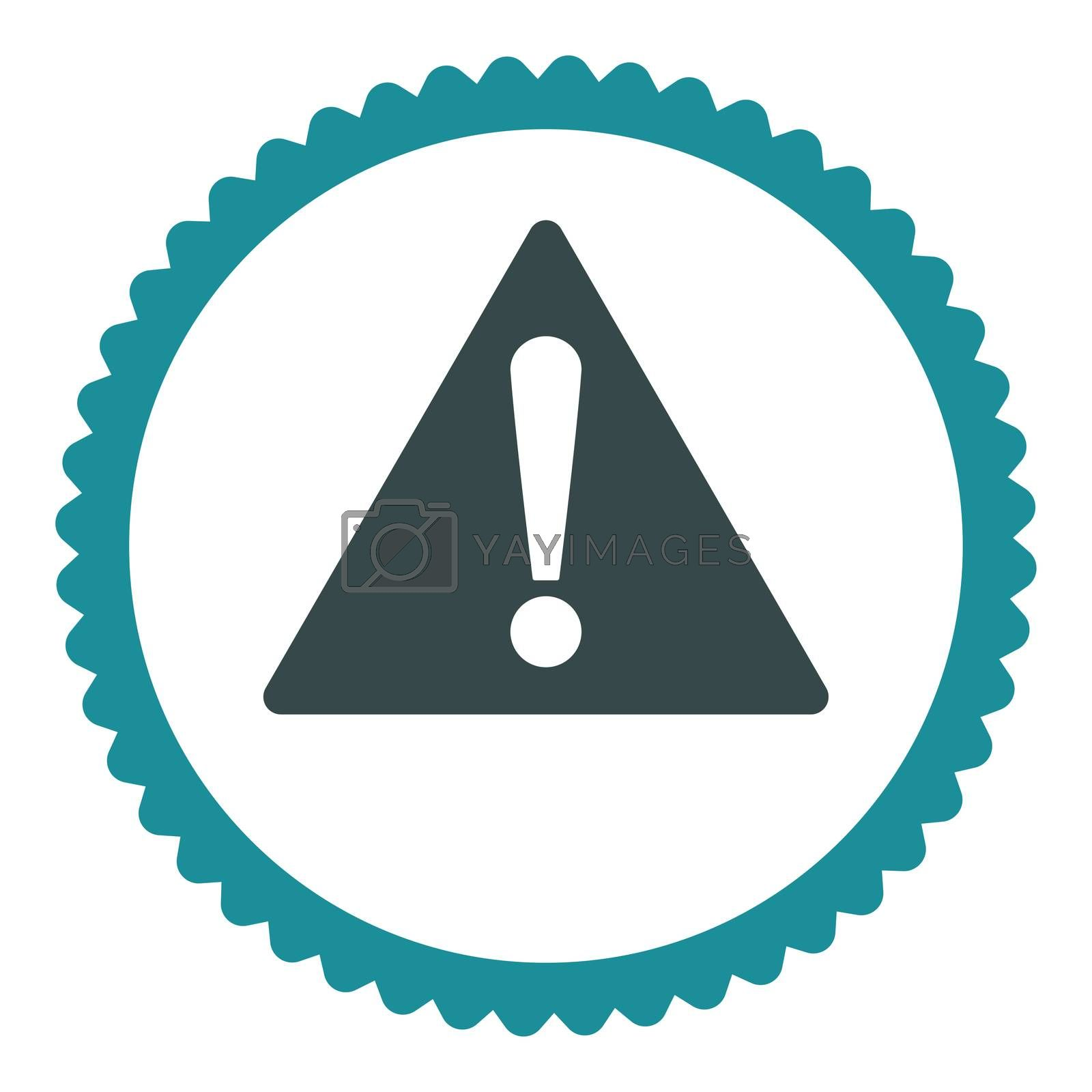 Warning flat soft blue colors round stamp icon by Aha-Soft
