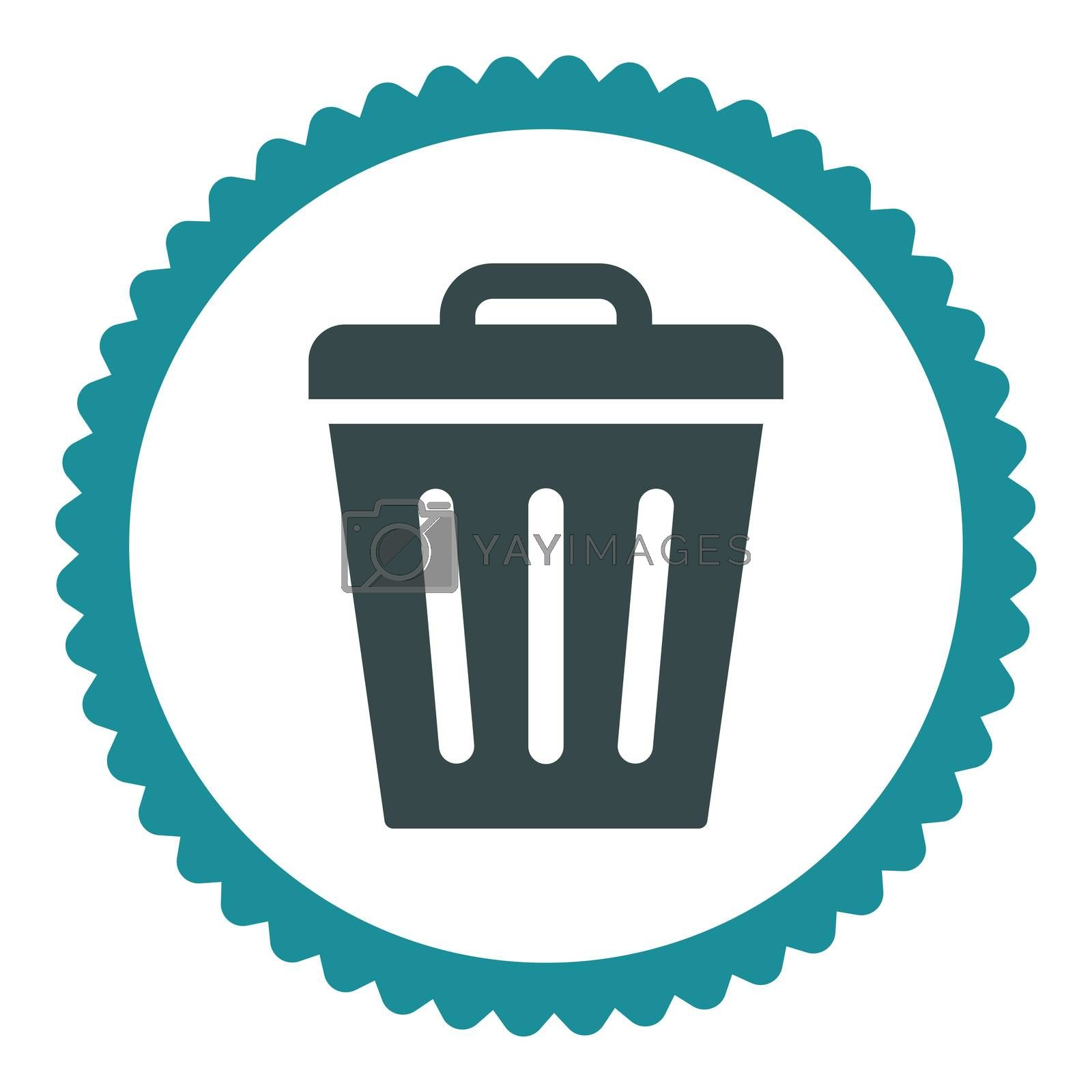 Trash Can flat soft blue colors round stamp icon by Aha-Soft