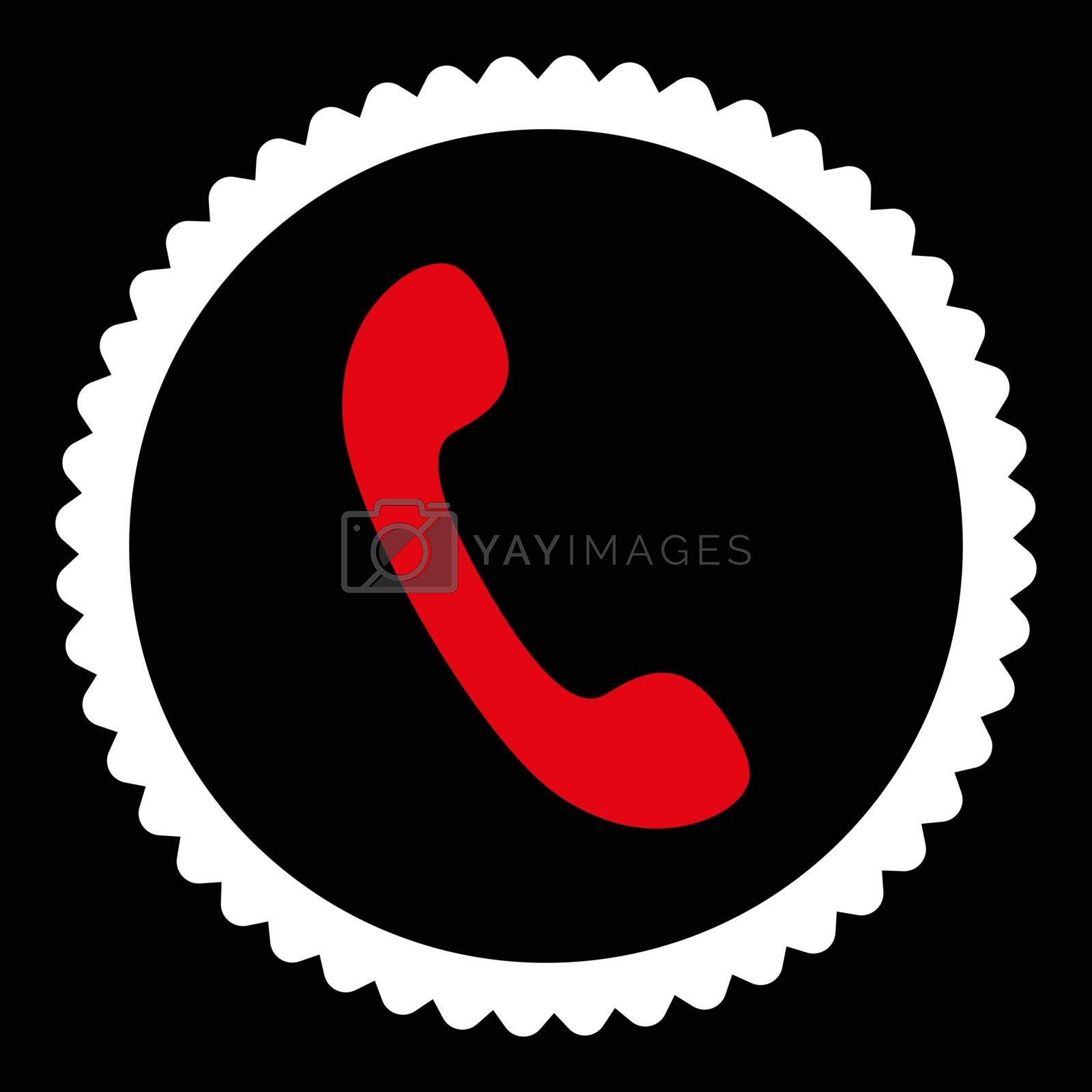 Phone flat red and white colors round stamp icon by Aha-Soft