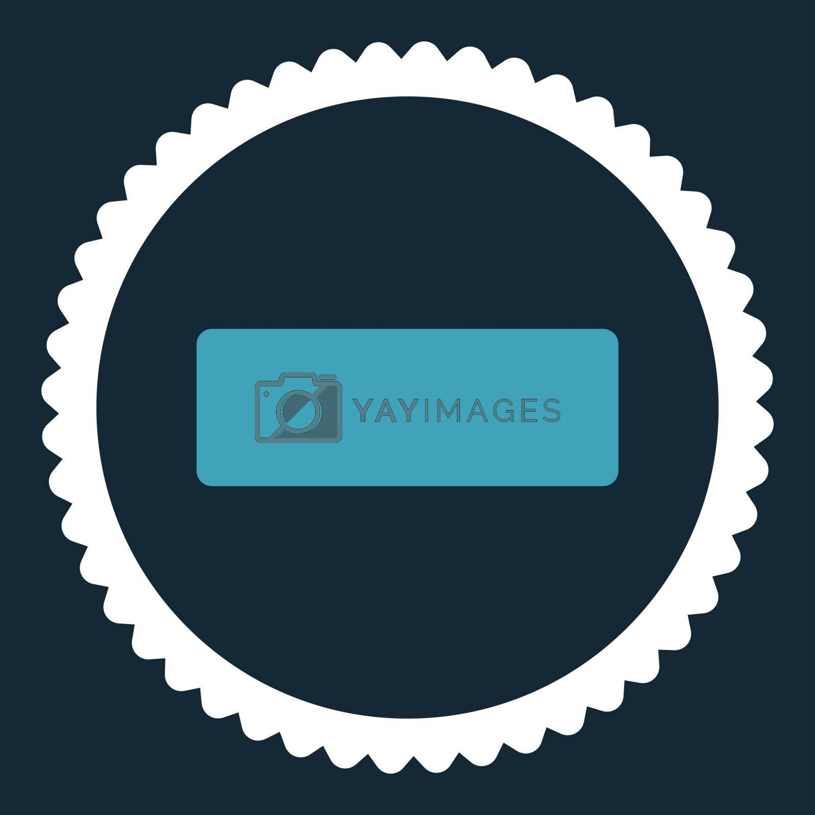 Minus flat blue and white colors round stamp icon by Aha-Soft