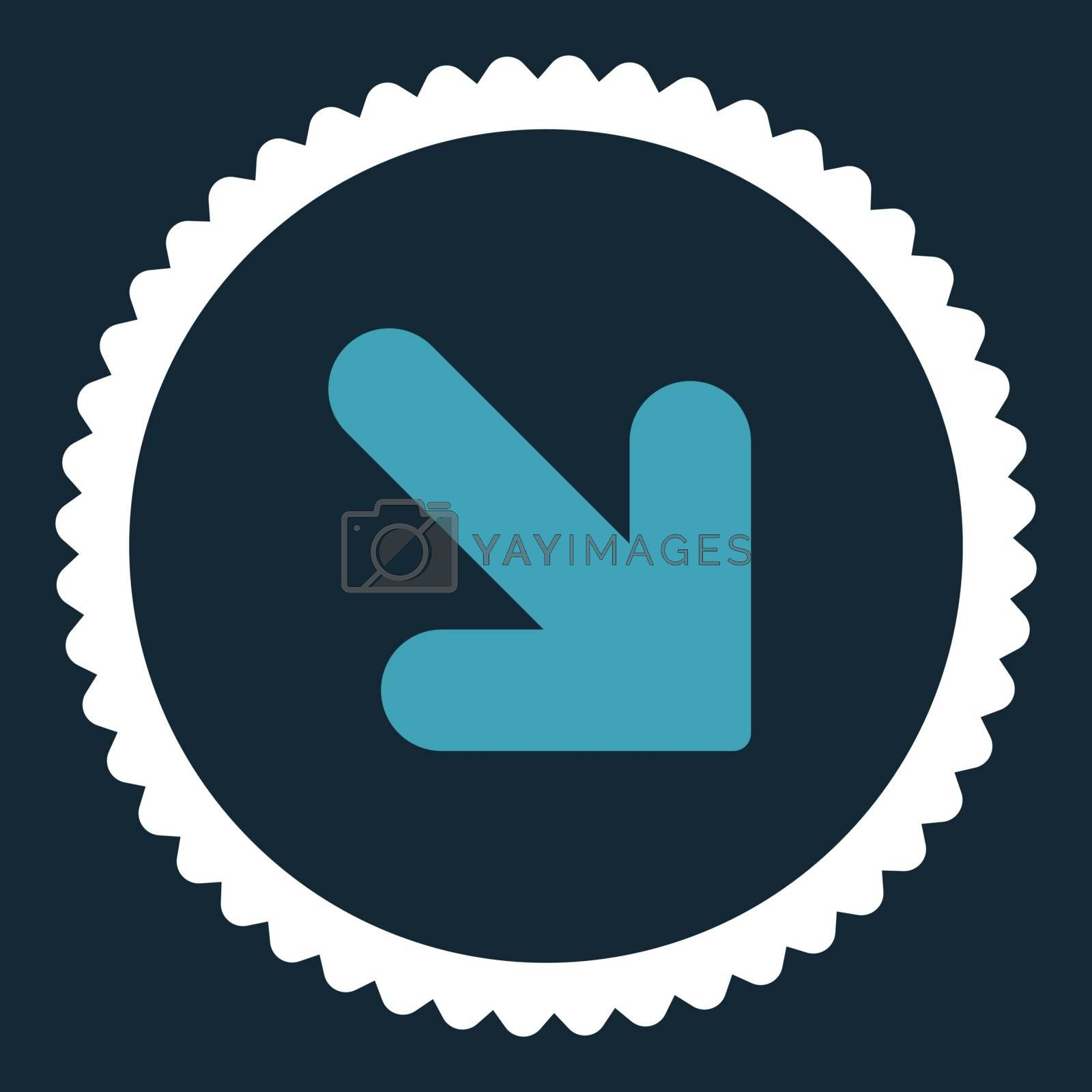 Arrow Down Right flat blue and white colors round stamp icon by Aha-Soft
