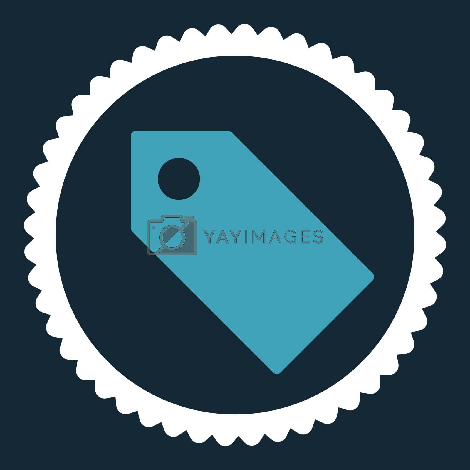 Tag flat blue and white colors round stamp icon by Aha-Soft