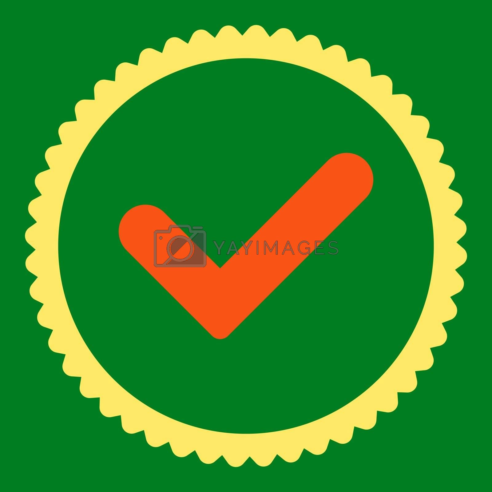 Yes flat orange and yellow colors round stamp icon by Aha-Soft