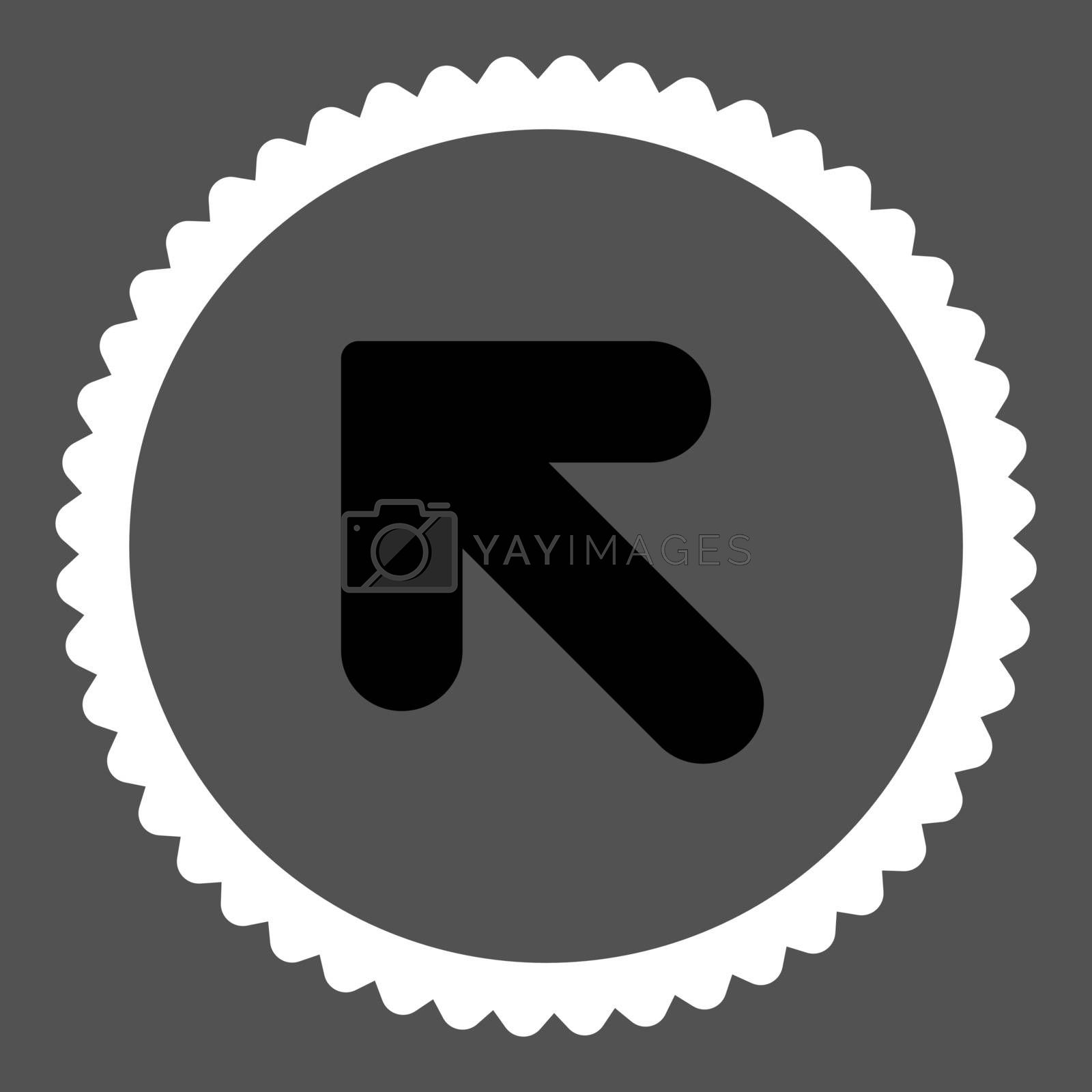 Arrow Up Left flat black and white colors round stamp icon by Aha-Soft