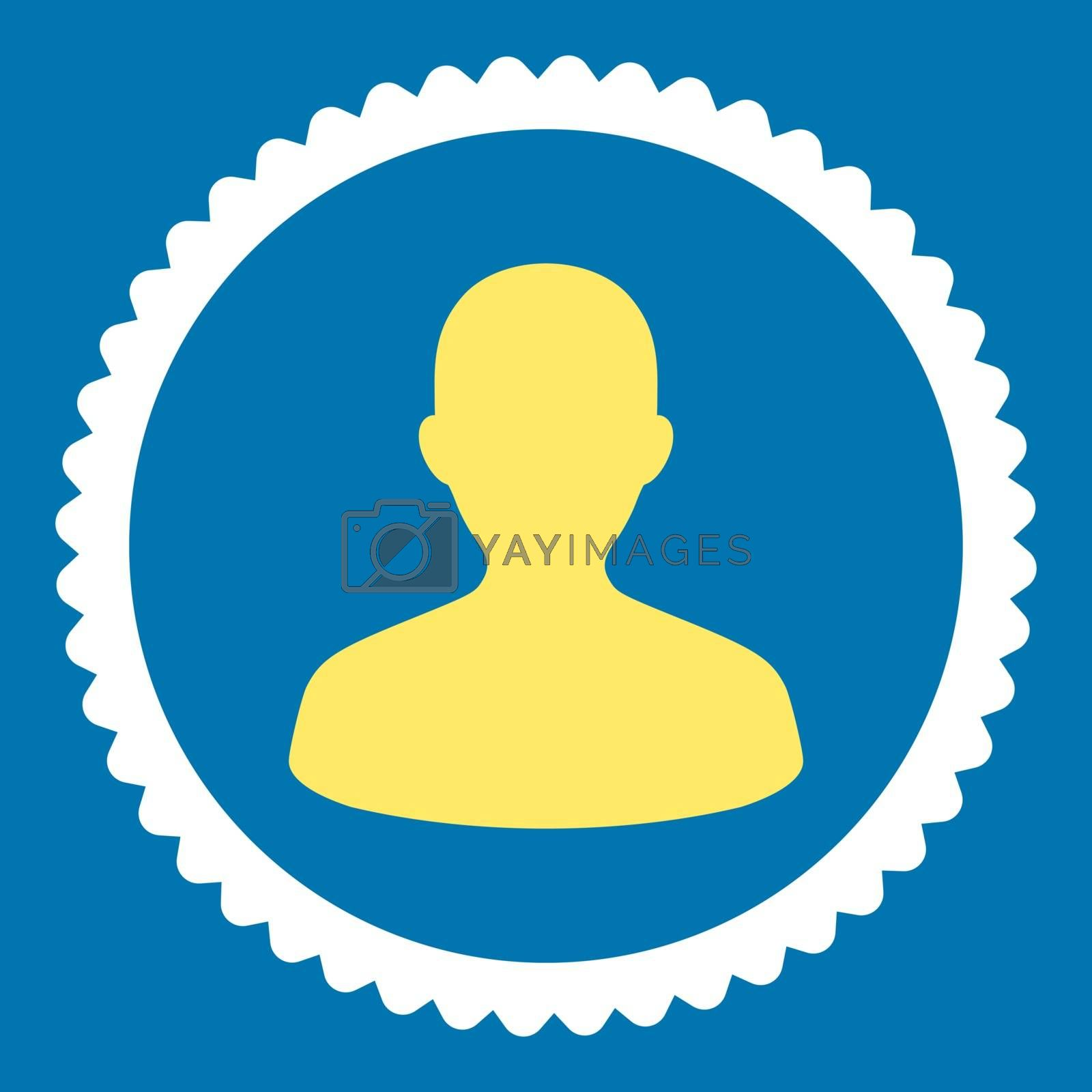 User flat yellow and white colors round stamp icon by Aha-Soft