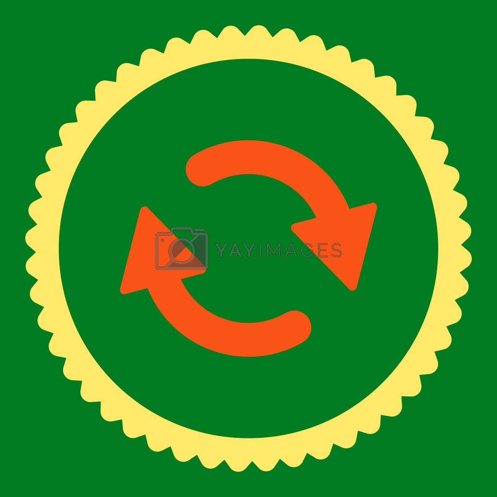 Refresh flat orange and yellow colors round stamp icon by Aha-Soft