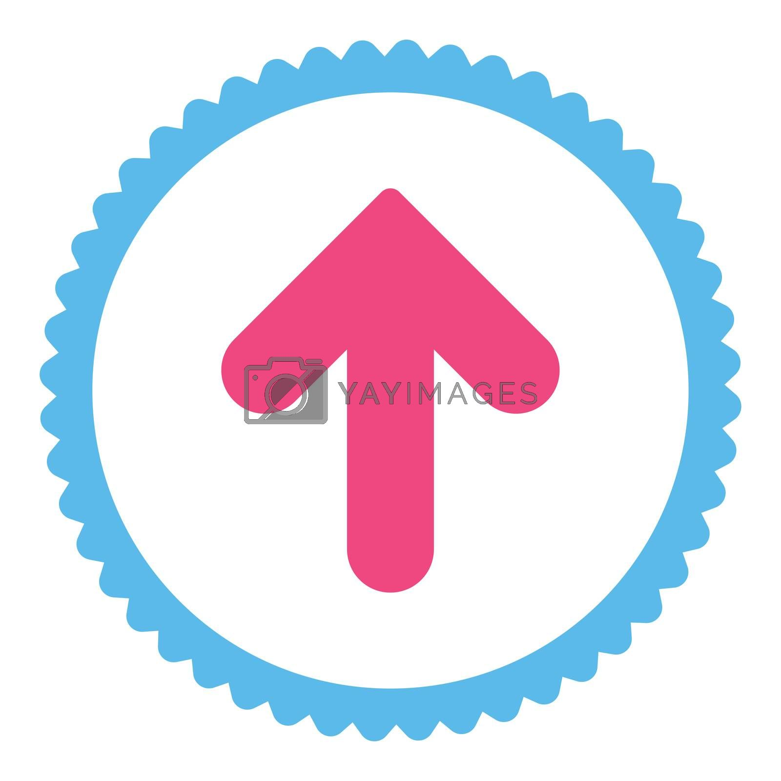 Arrow Up flat pink and blue colors round stamp icon by Aha-Soft