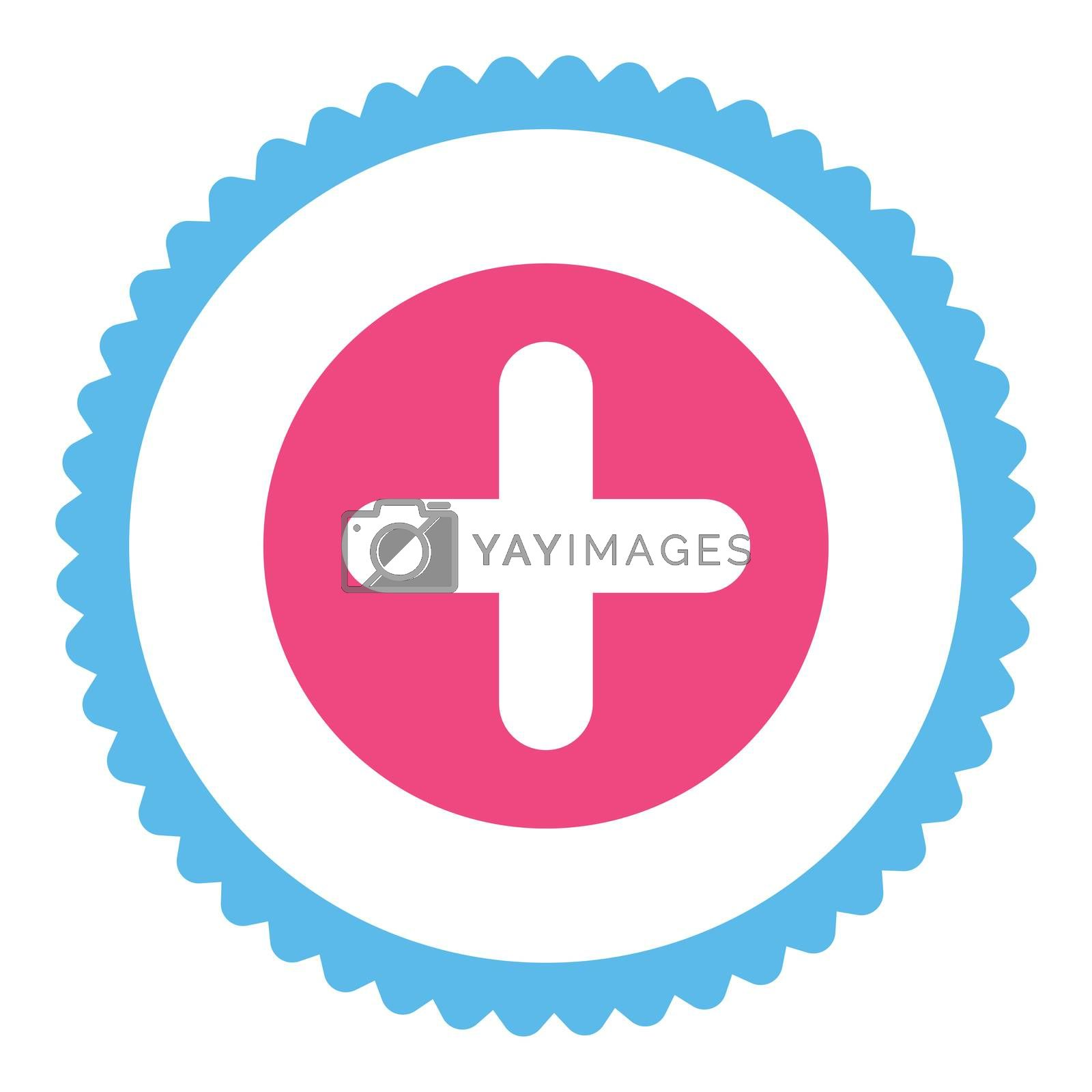 Create flat pink and blue colors round stamp icon by Aha-Soft