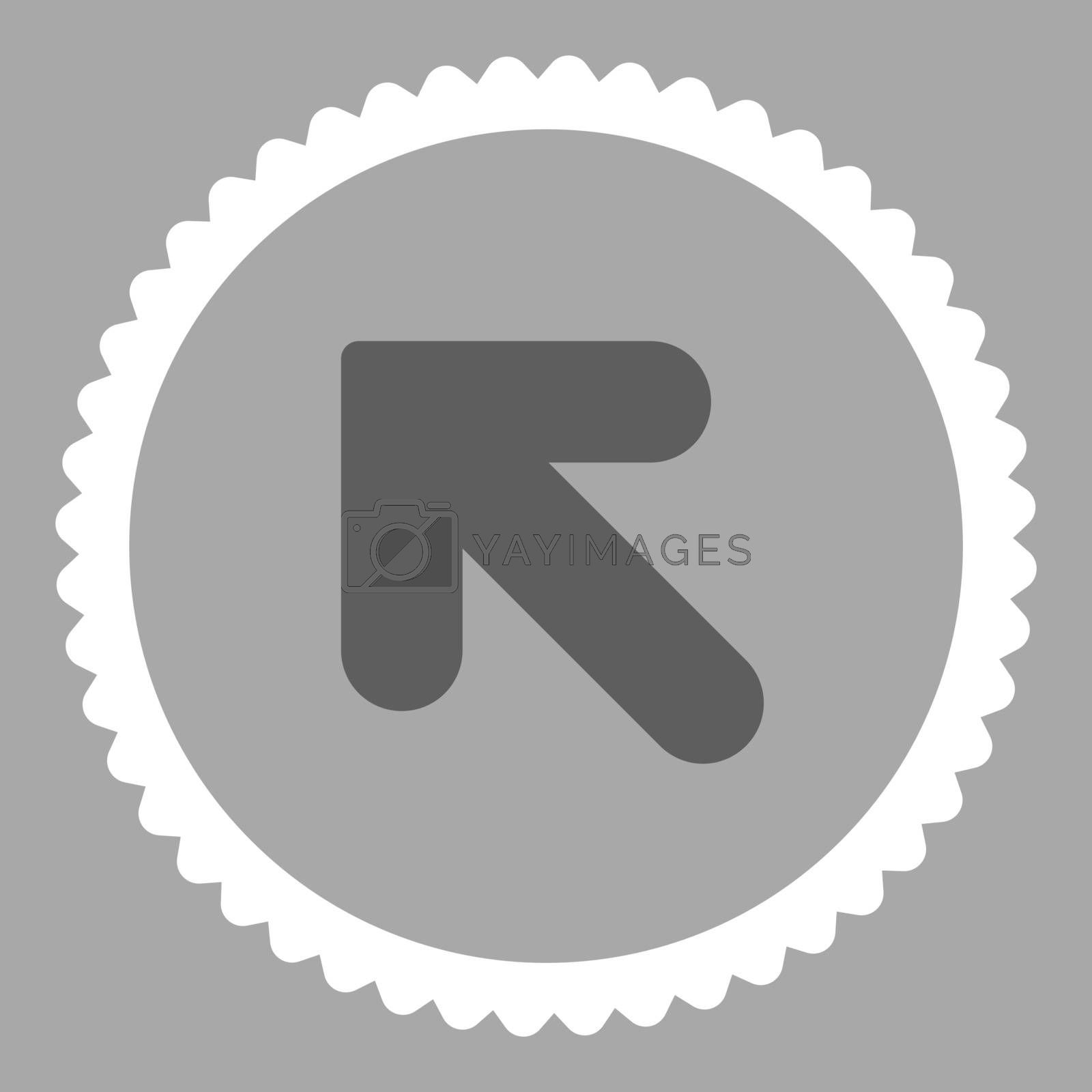 Arrow Up Left flat dark gray and white colors round stamp icon by Aha-Soft