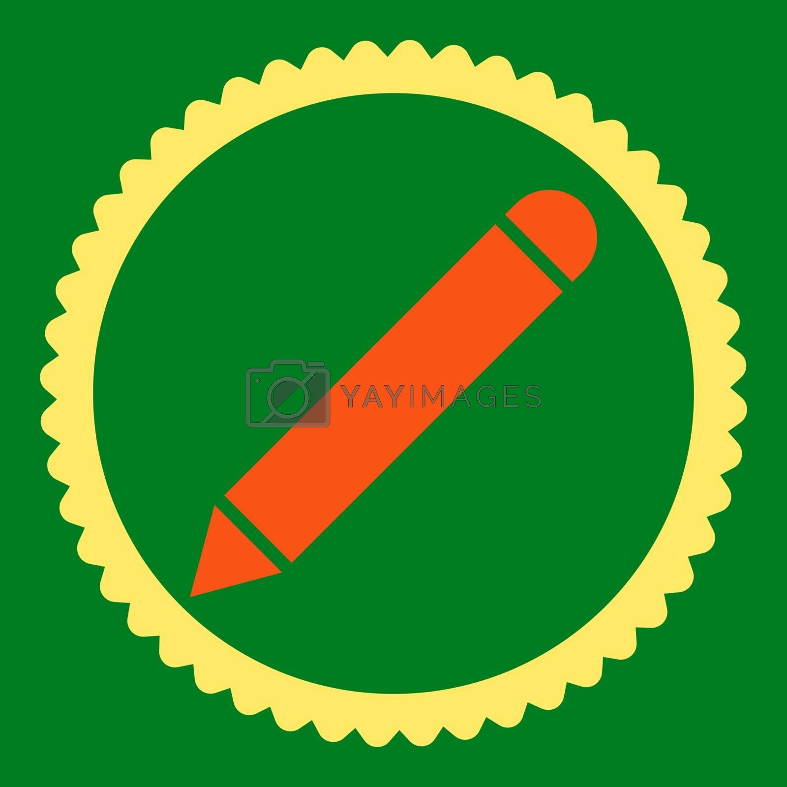 Pencil flat orange and yellow colors round stamp icon by Aha-Soft
