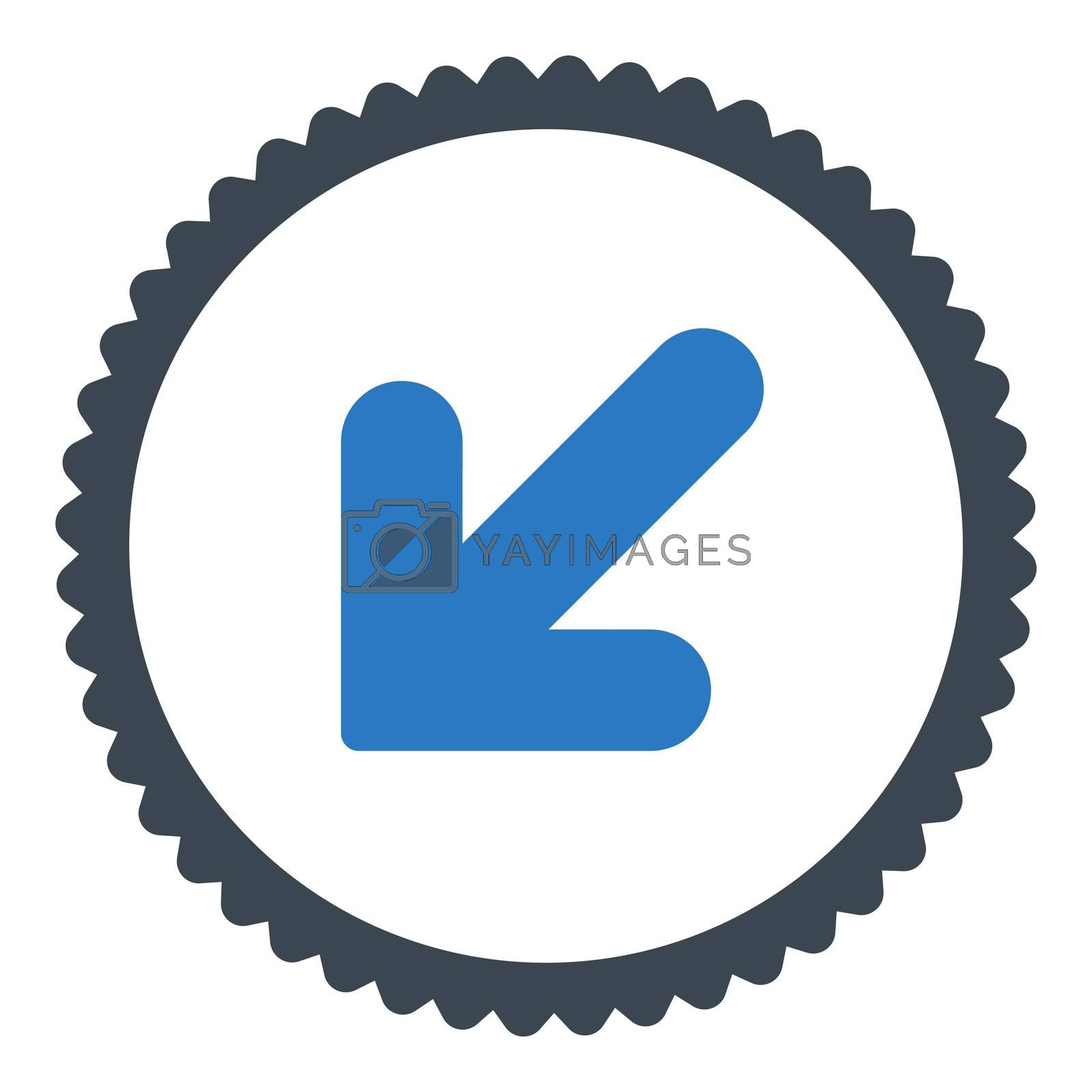 Arrow Down Left flat smooth blue colors round stamp icon by Aha-Soft