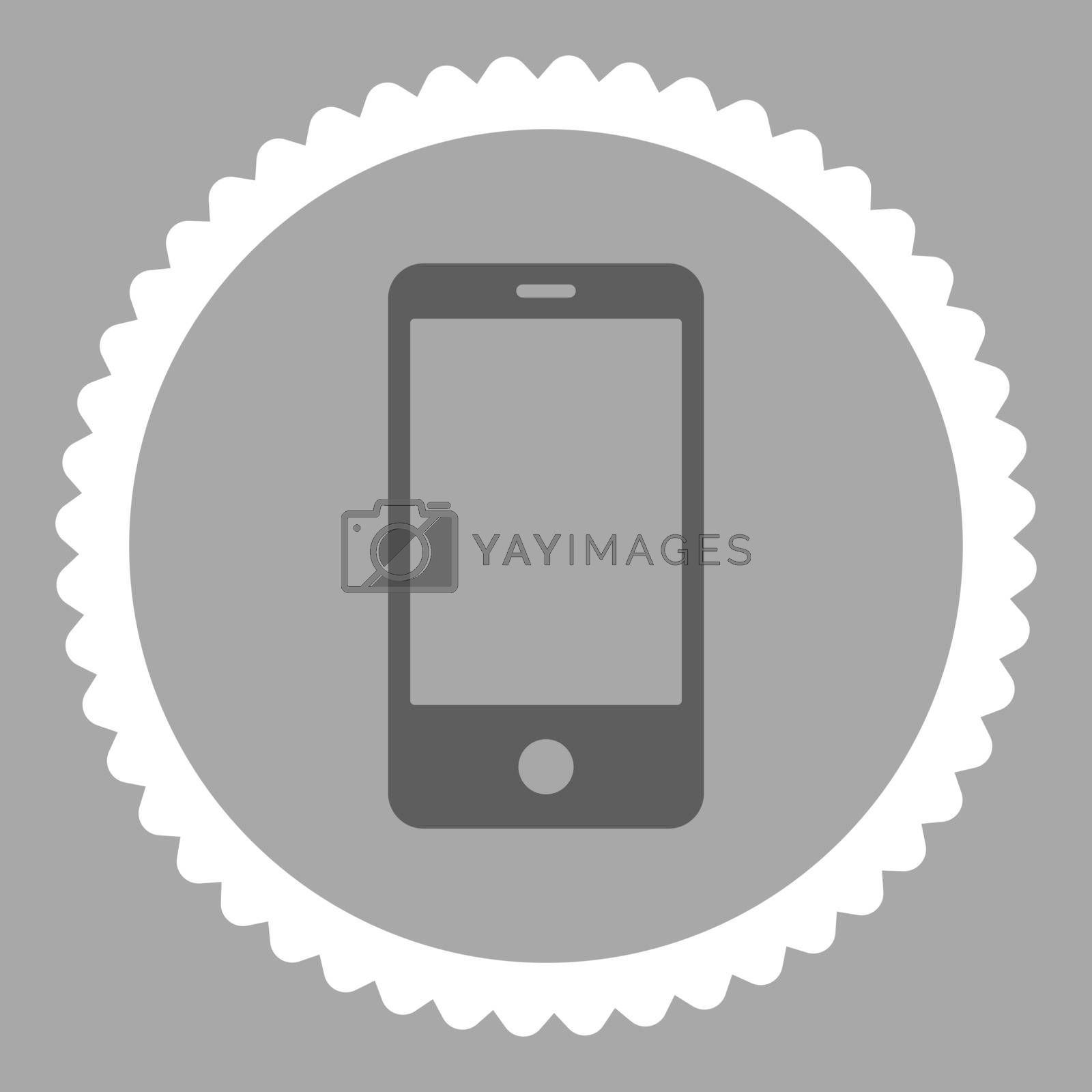 Smartphone flat dark gray and white colors round stamp icon by Aha-Soft