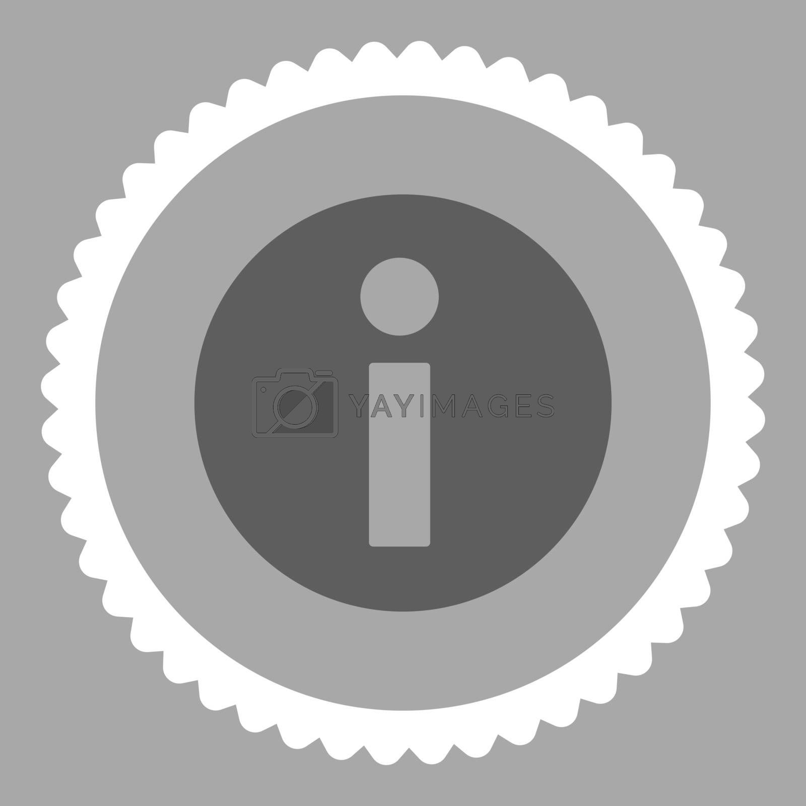 Information flat dark gray and white colors round stamp icon by Aha-Soft