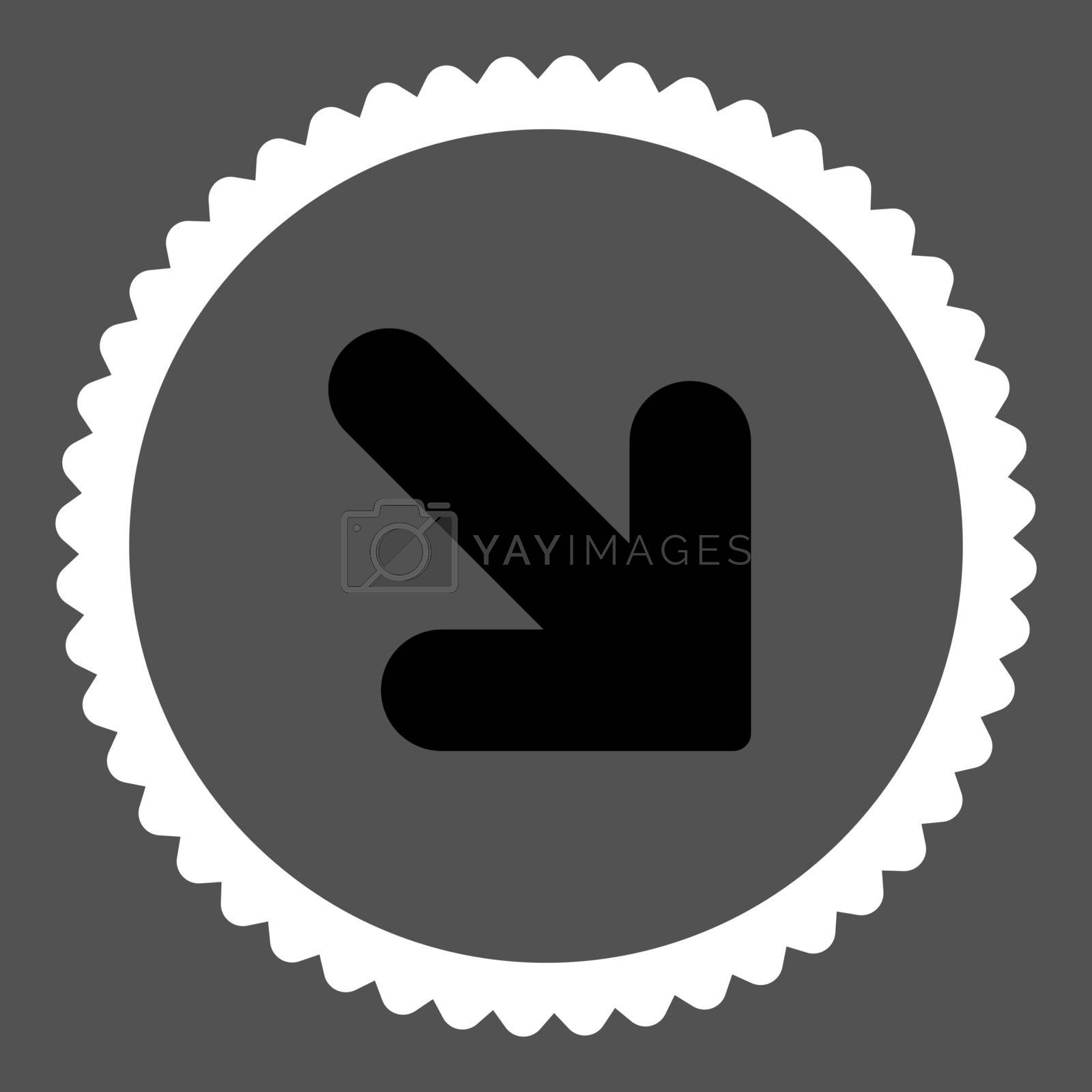 Arrow Down Right flat black and white colors round stamp icon by Aha-Soft