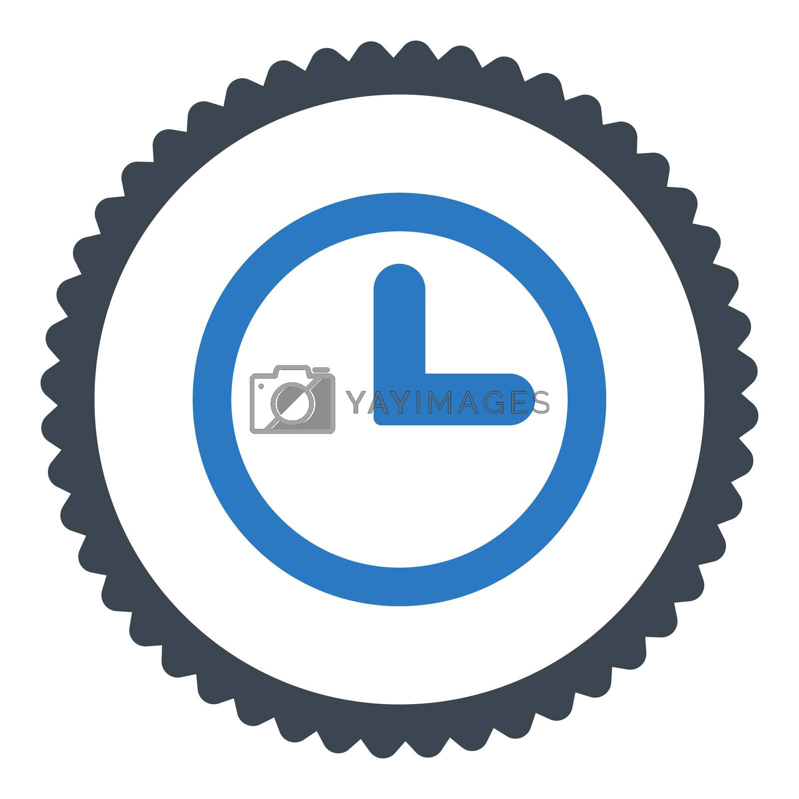 Clock flat smooth blue colors round stamp icon by Aha-Soft